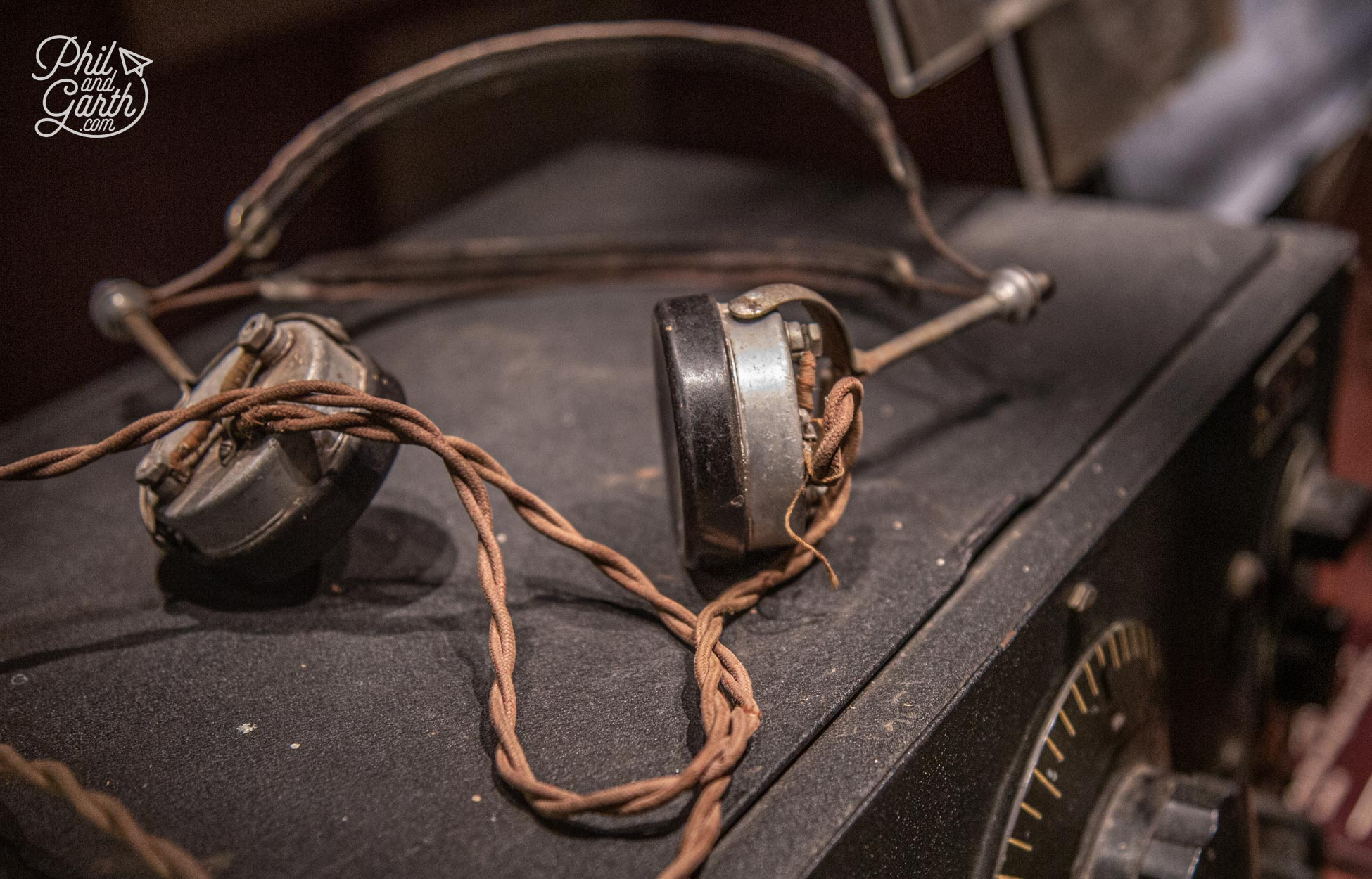 An old pair of headphones used for listening to morse code