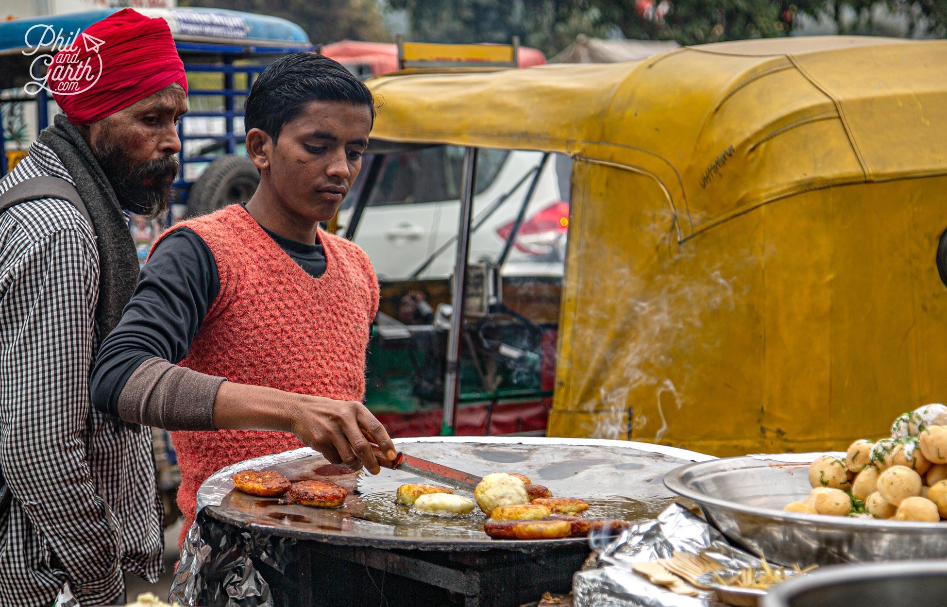 A street food vendor in Old Delhi