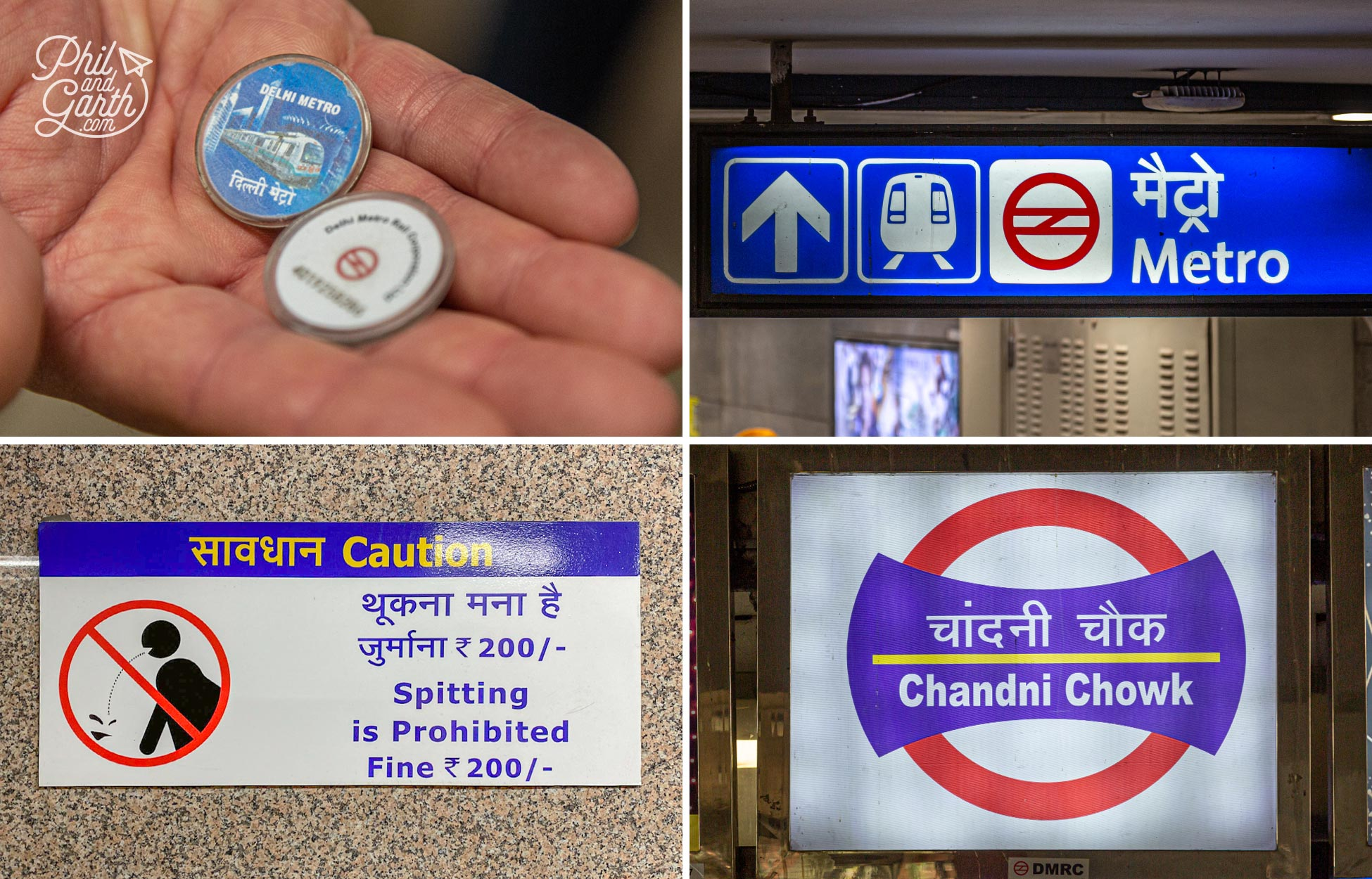 Delhi Metro tokens and signs on the underground