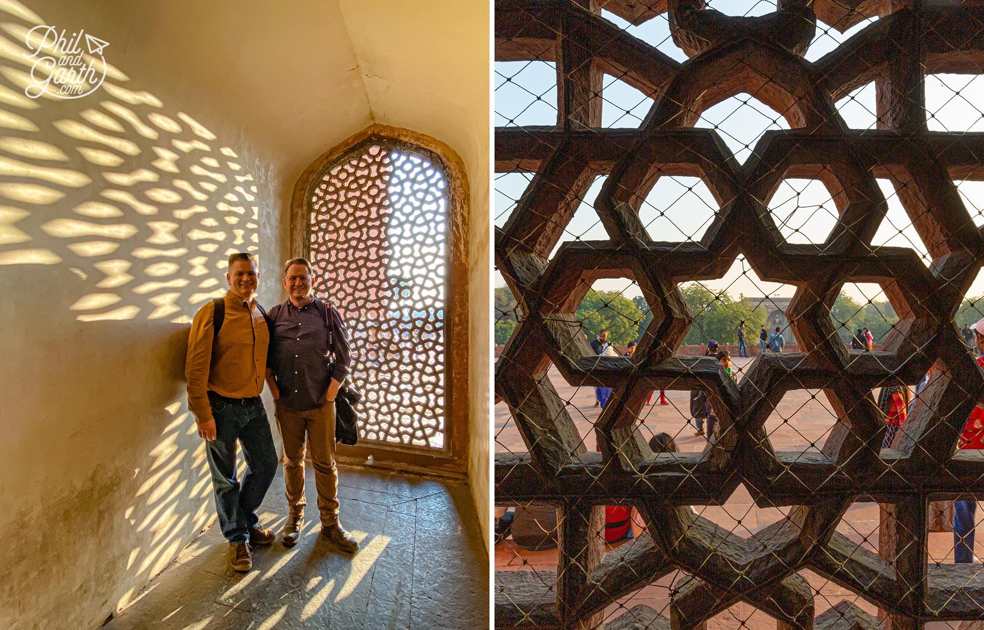 Fabulous low light shadows cast by a lattice stone window inside