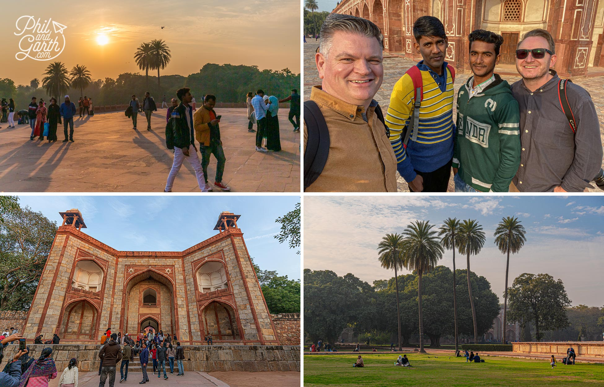 Making new friends with the locals at Humayun's Tomb