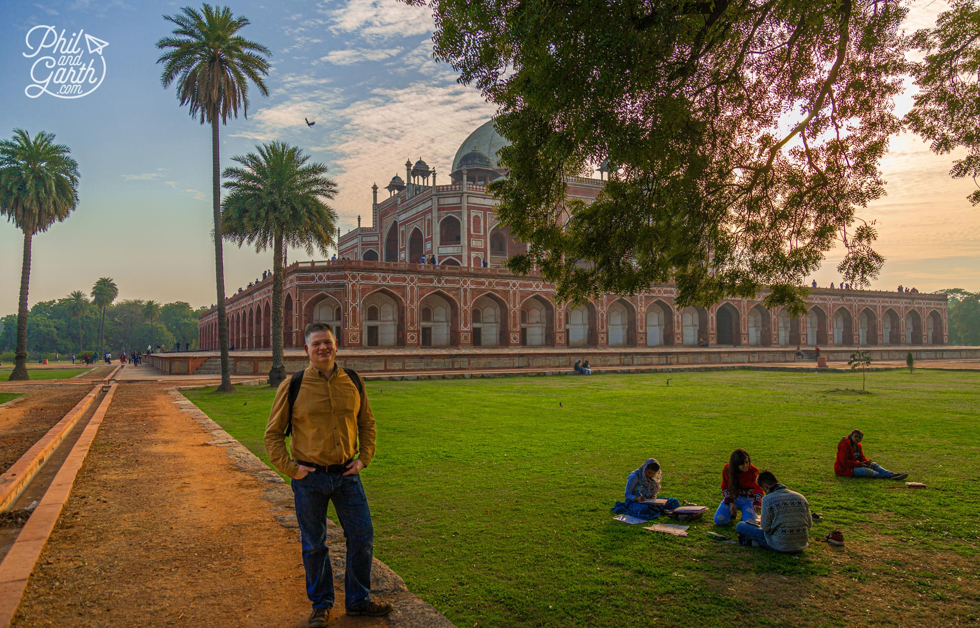 Phil strolling around the tranquil gardens of Humayun's Tomb