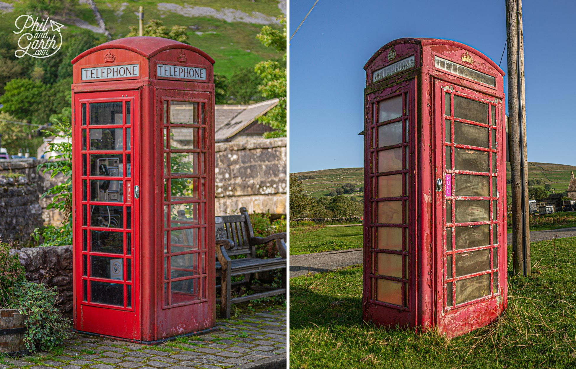 A red telephone box in Kettlewell and another weathered box in Wensleydale