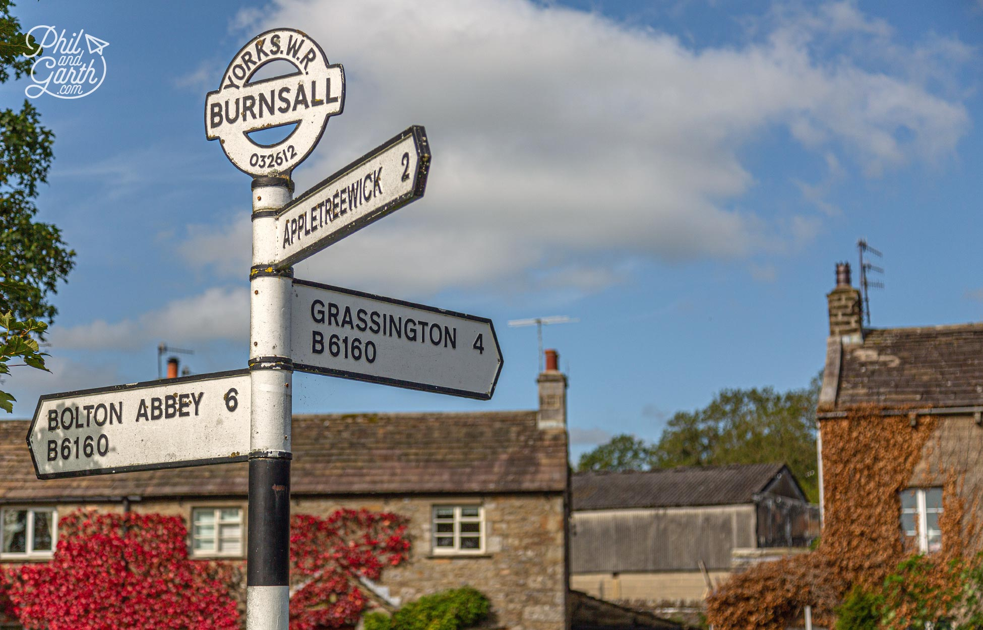 An old road sign in Burnsall