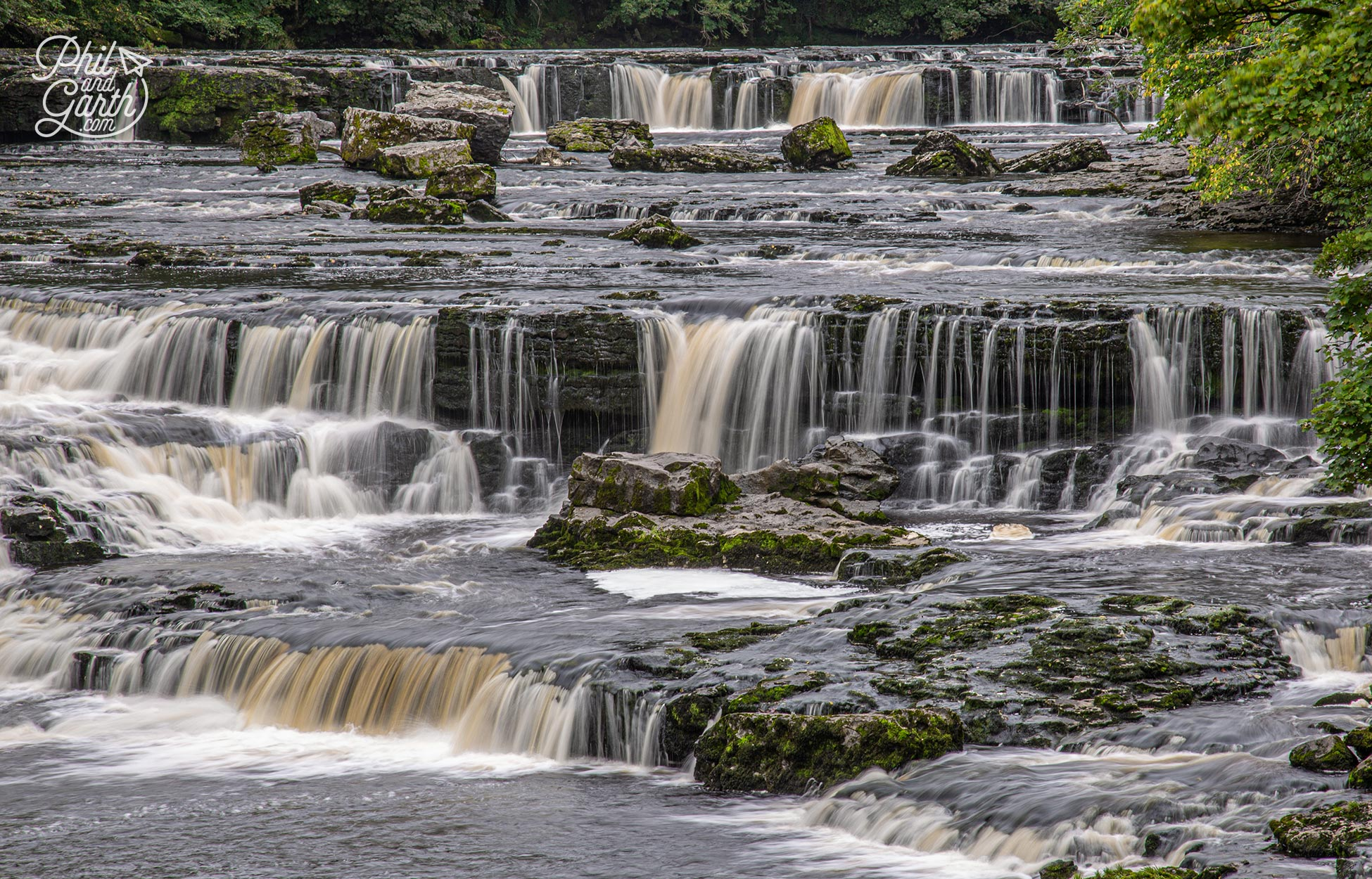 The dramatic and picturesque Aysgarth Falls in Wensleydale, Yorkshire Dales