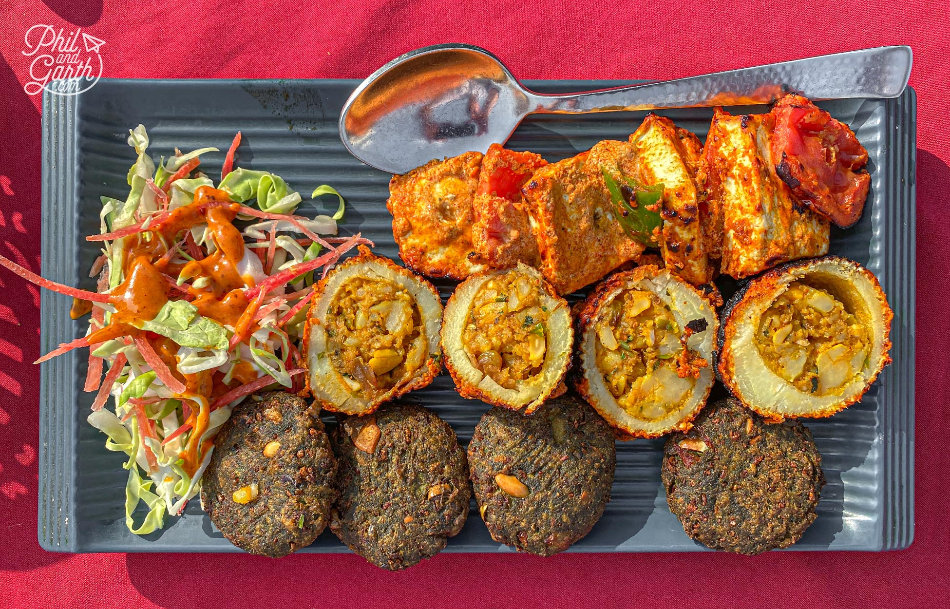 Our triple starter of paneer, stuffed potatoes and spinach paneer fritters