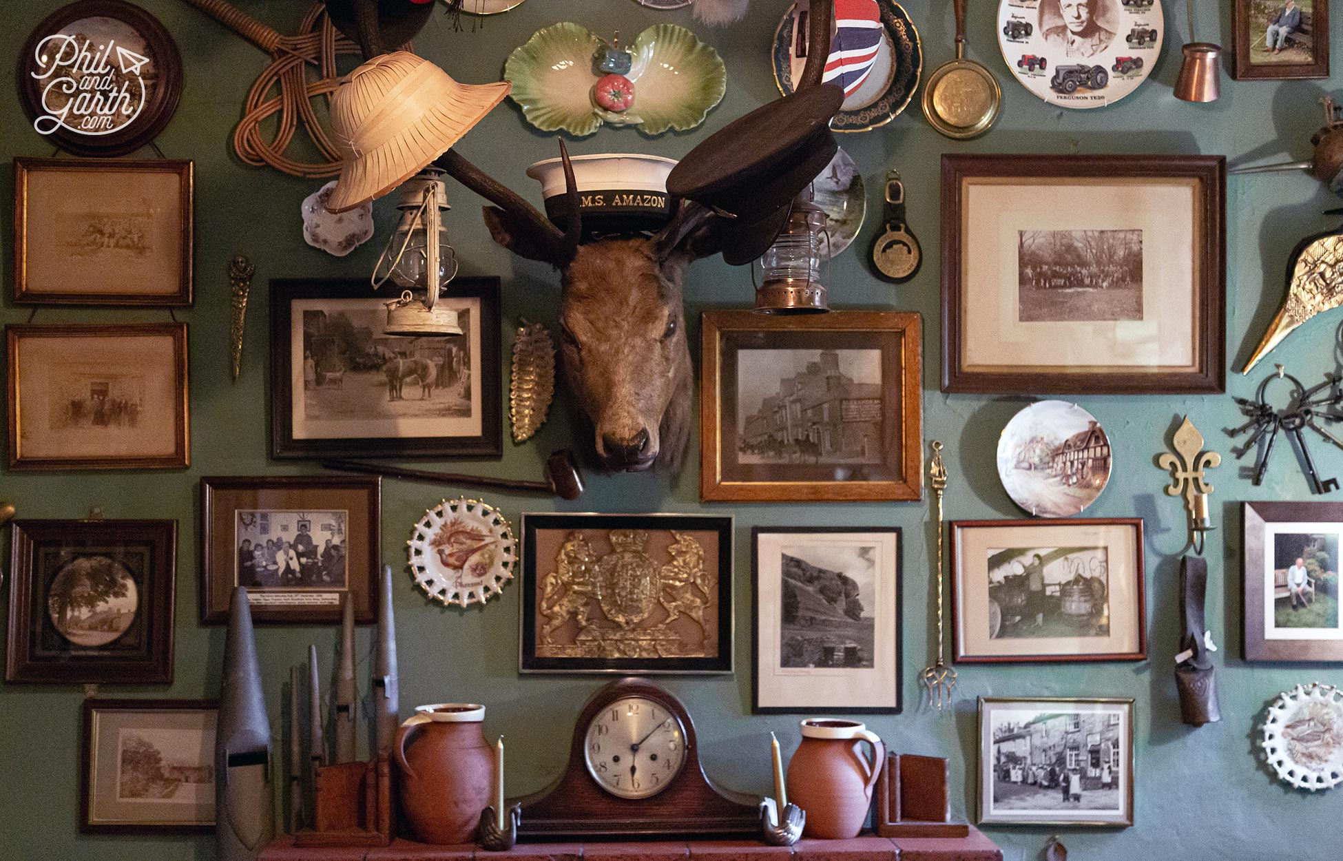 Inside the Falcon pub in Arncliffe with its quirky interior decoration