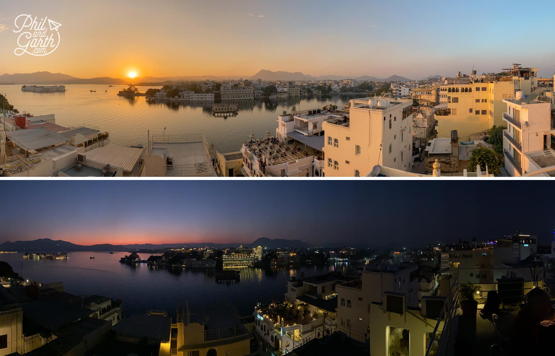 Watching the sunset from the rooftop restaurant of Hotel Udaigarh