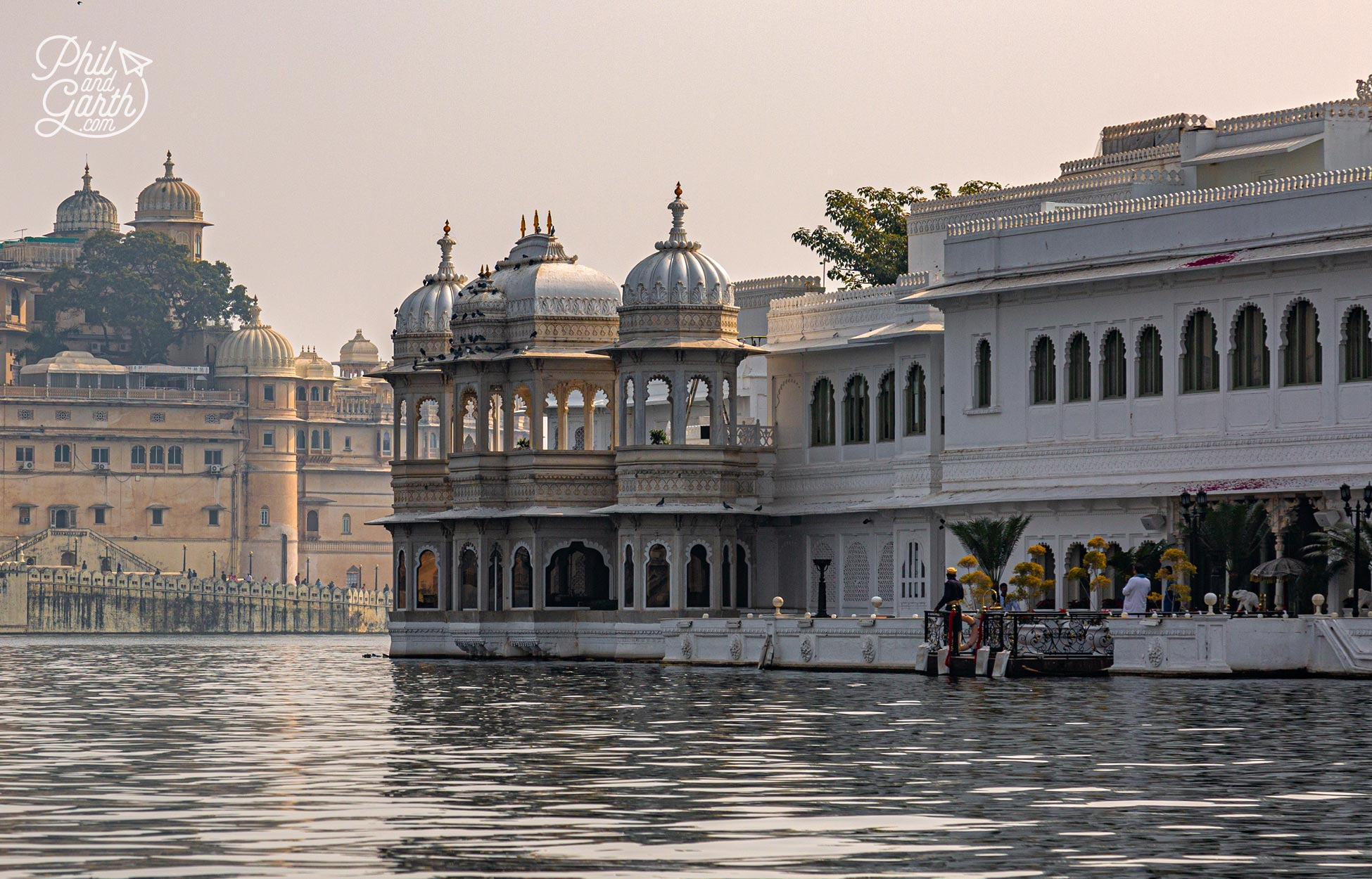 Old Palaces appear to float on the shimmering water