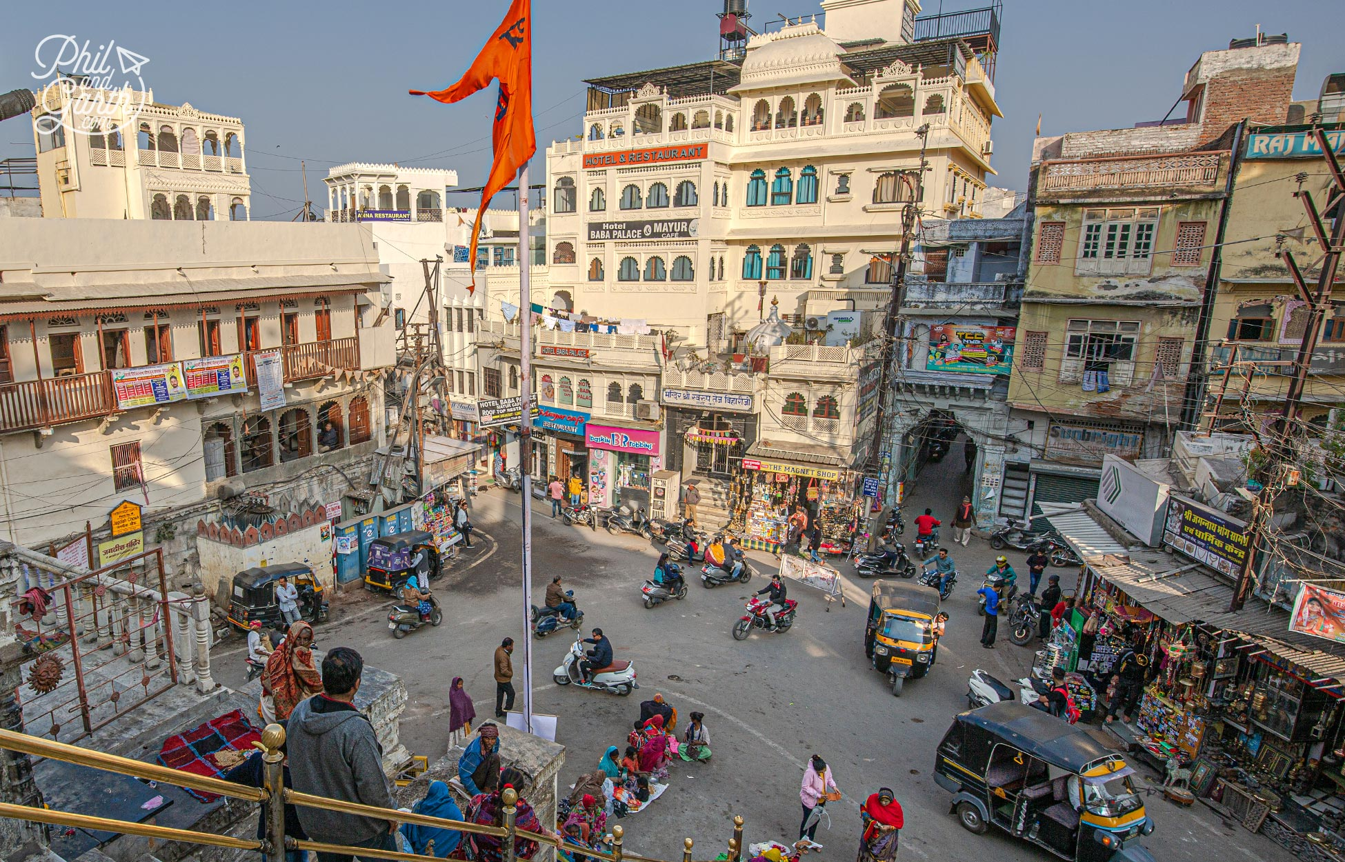 Looking down at the street scenes of Jagdish Chowk