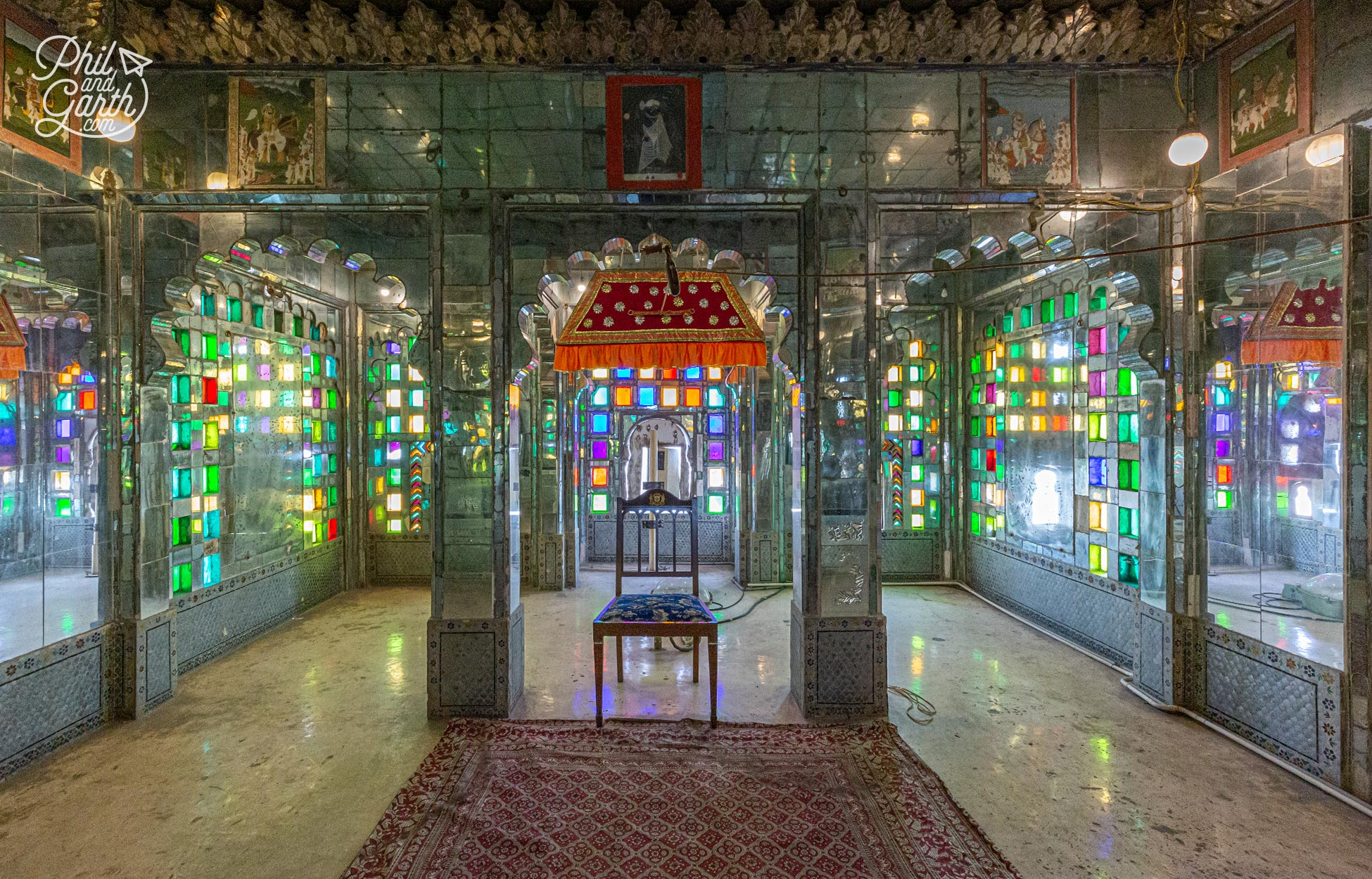Manak Mahal (The Ruby Palace) The light in this room from the coloured stained glass and mirrored walls is stunning