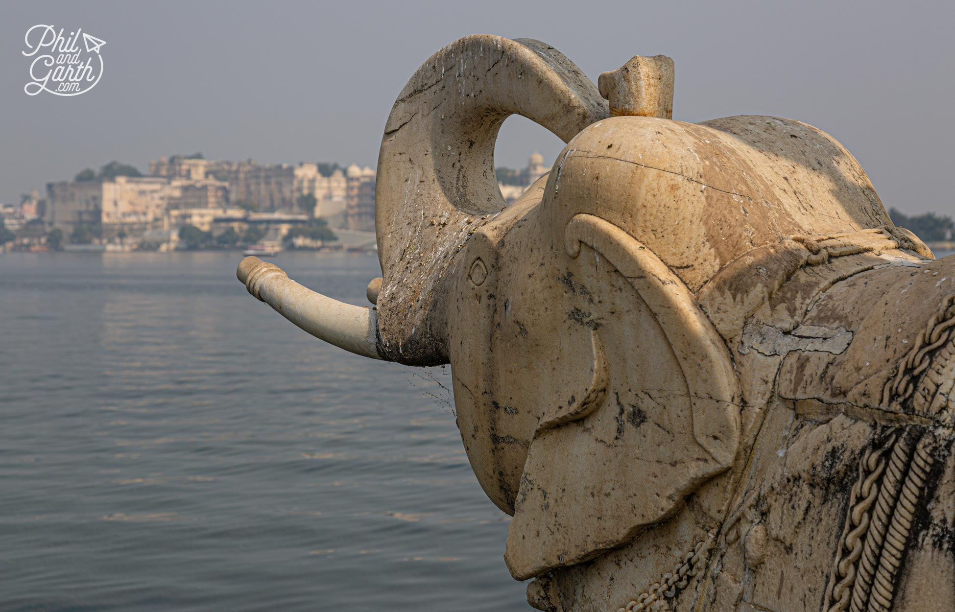 One of the marble elephants looking towards the City Palace from Jagmandir