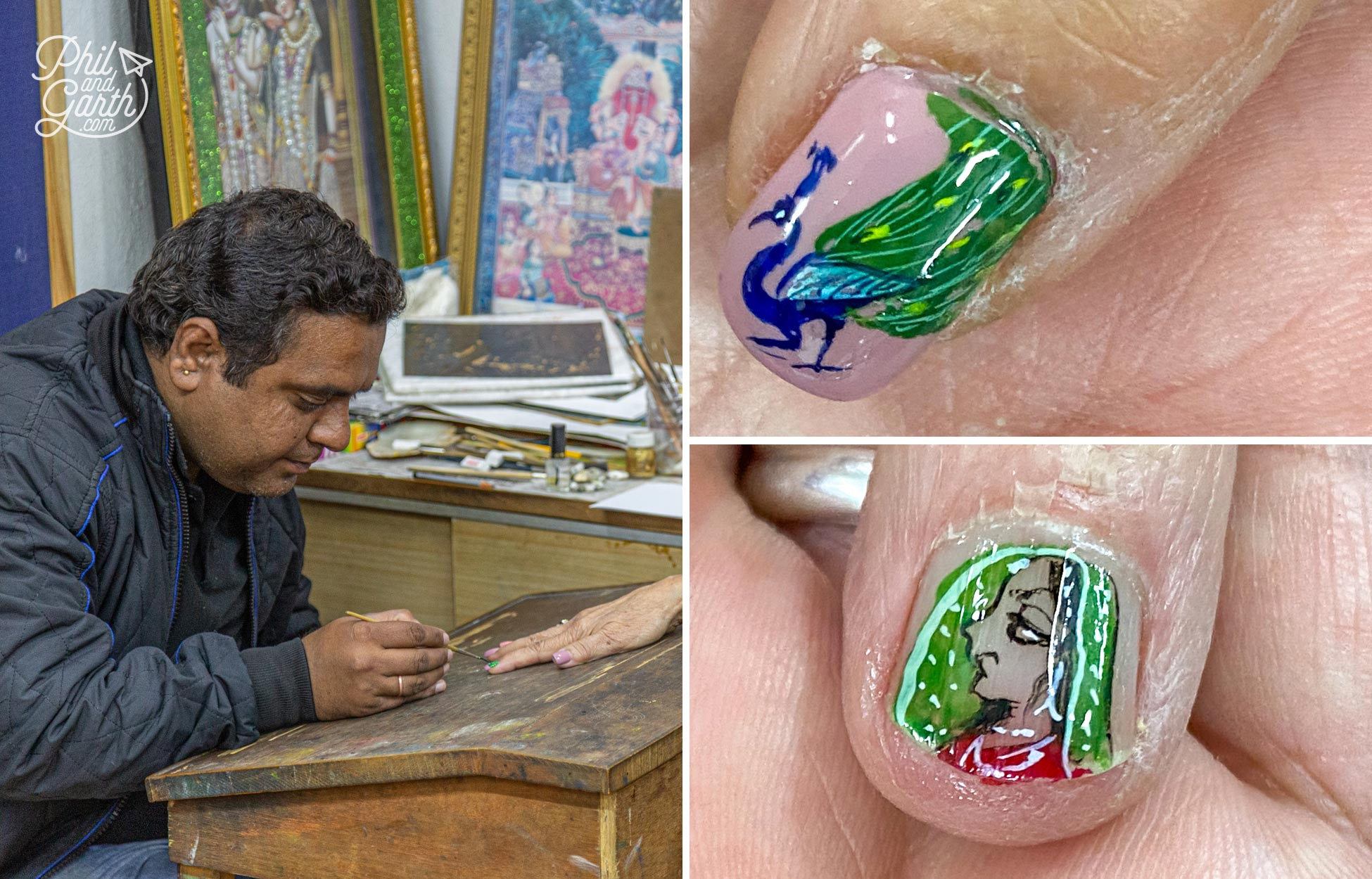 Miniature nail art at the Janak Arts artist studio