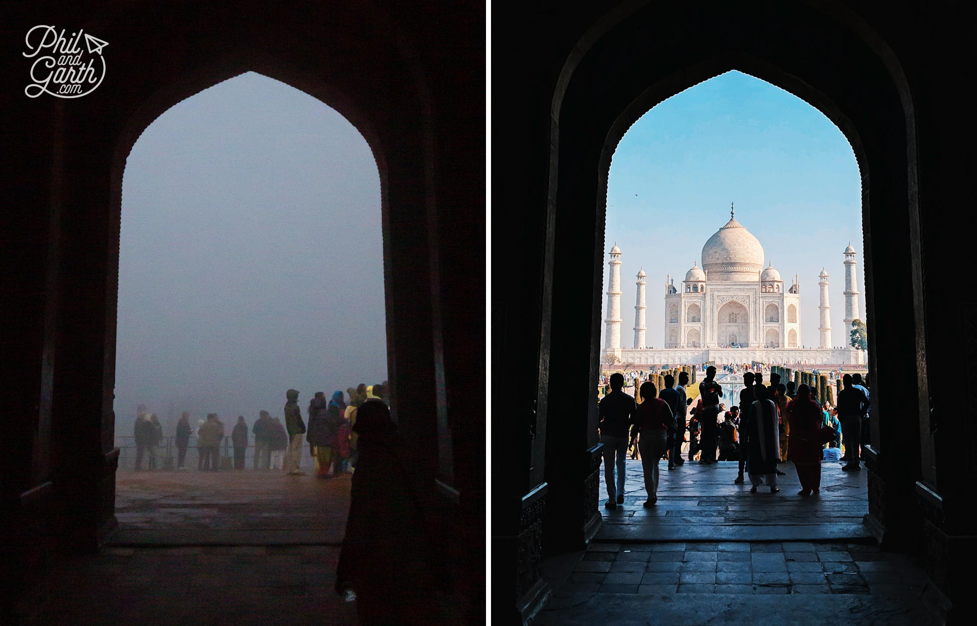 The classic shot of the Taj Mahal from the North gate entrance - our foggy view vs what we should have seen!