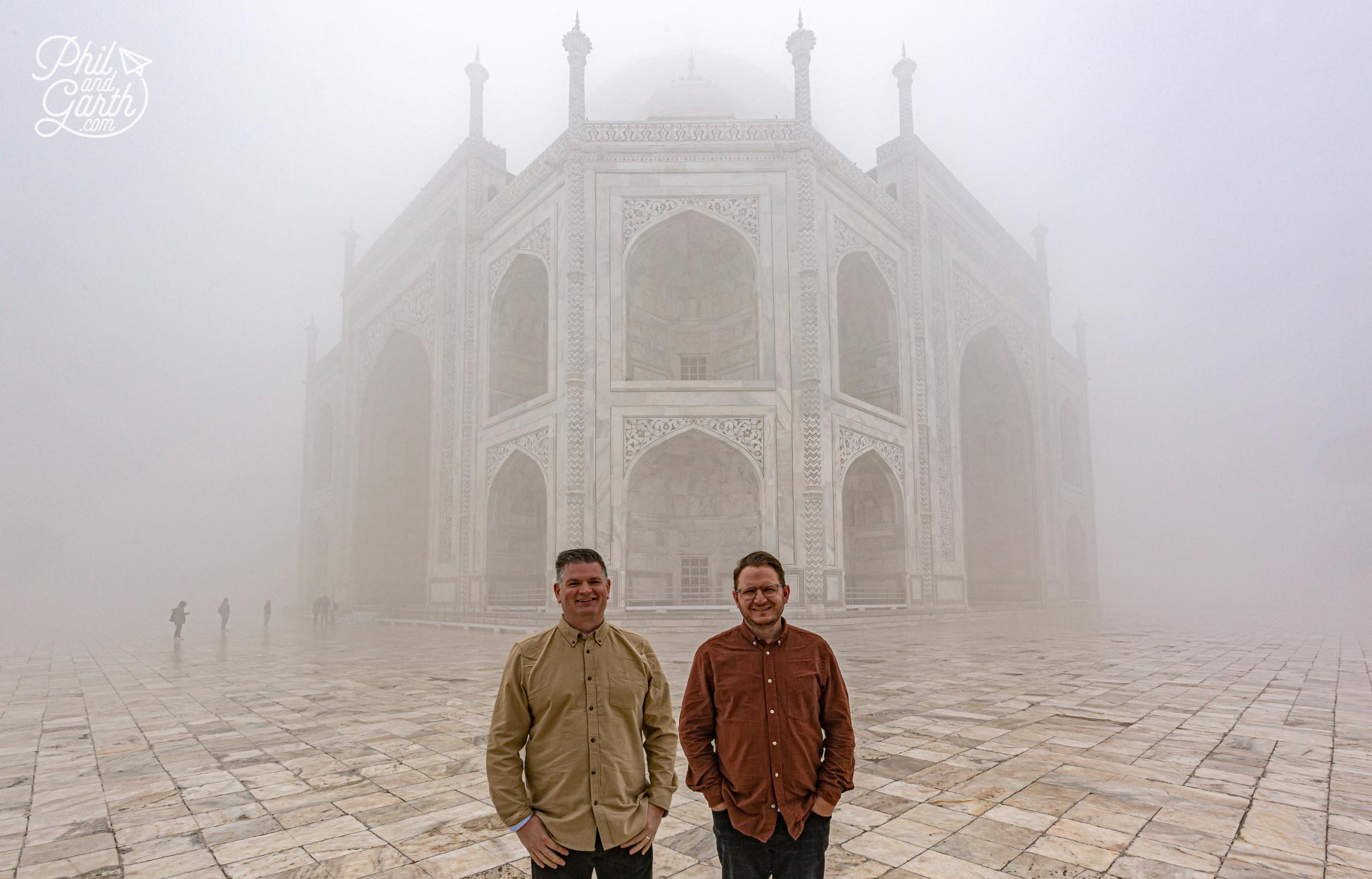 Phil and Garth stood on the upper terrace of the Taj Mahal