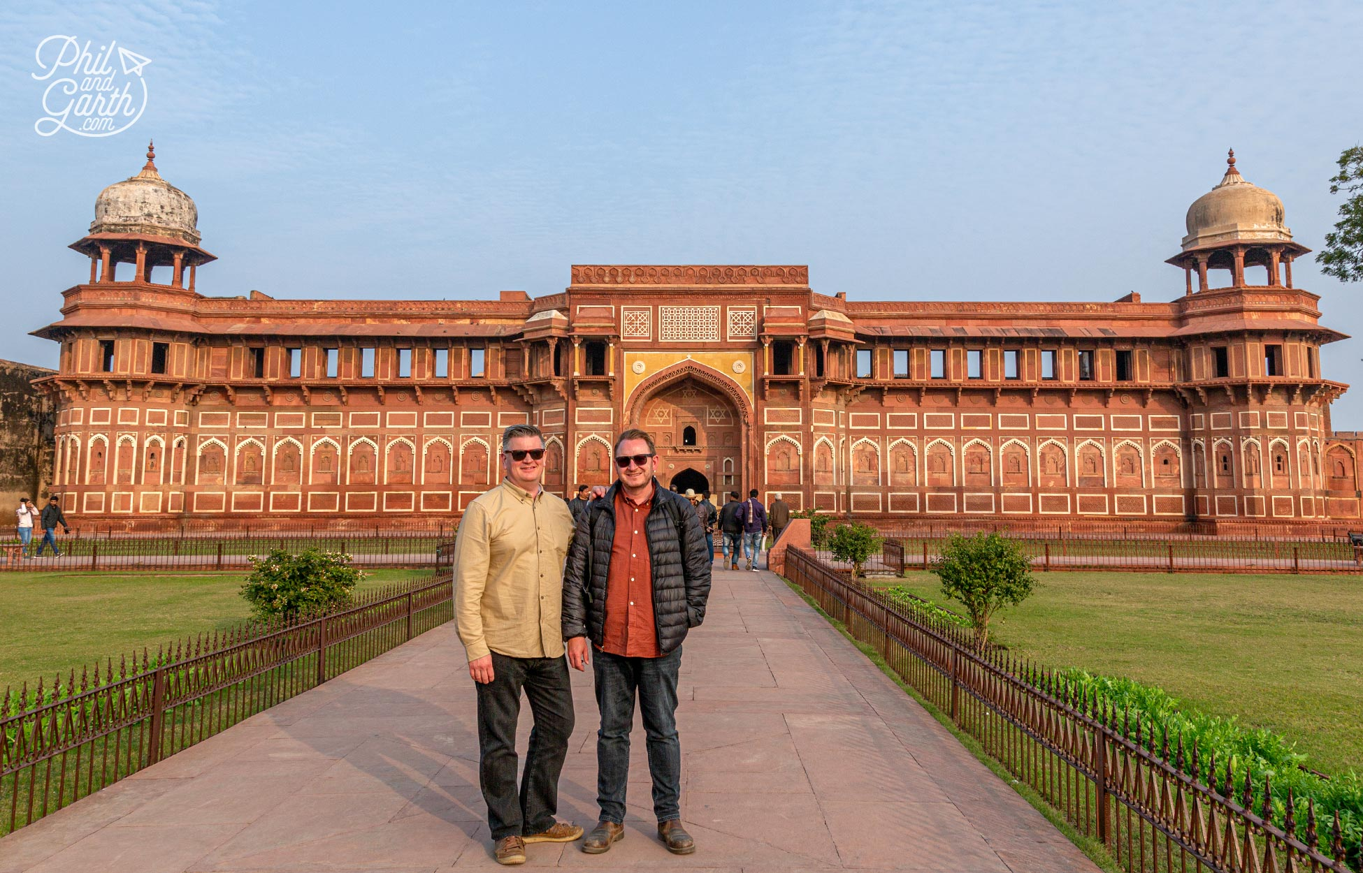 Phil and Garth outside The Jahangiri Palace - The women's quarters of the Royal household.