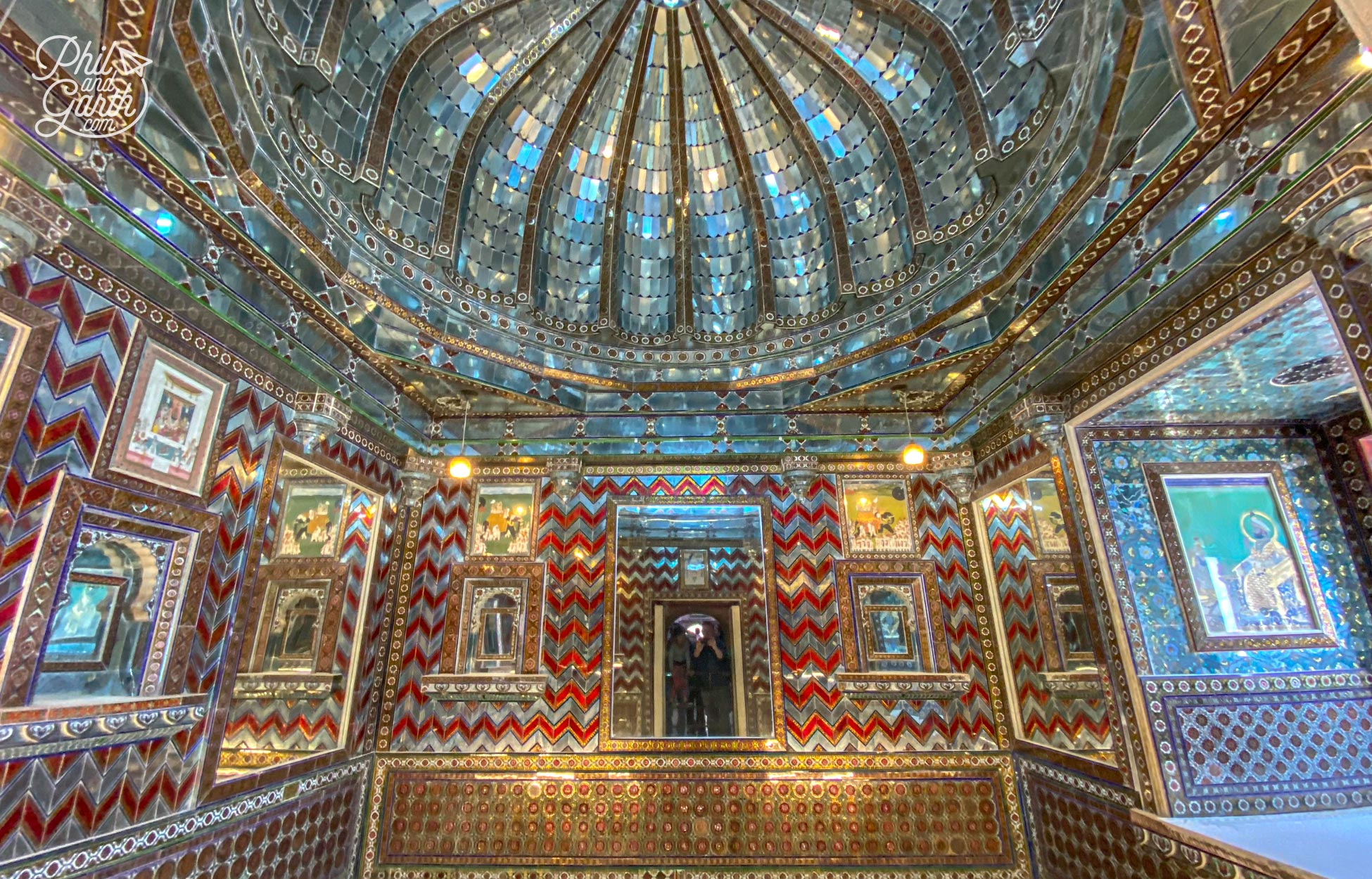 The incredible and opulent Kanch Ki Burj chamber with mosaics of mirror, red and silver glass