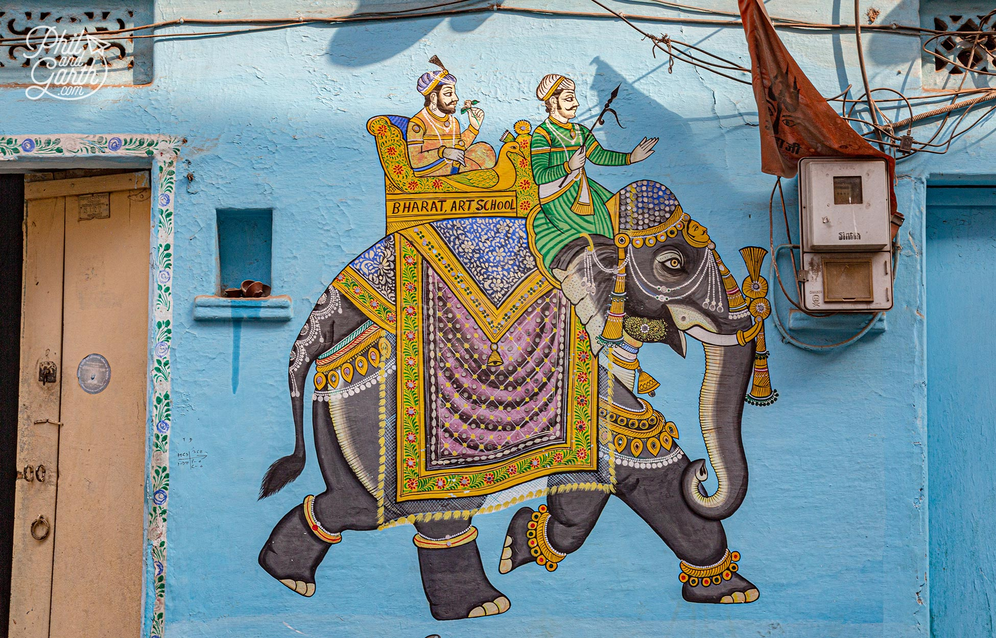 Some beautiful murals can be found on walls around Udaipur