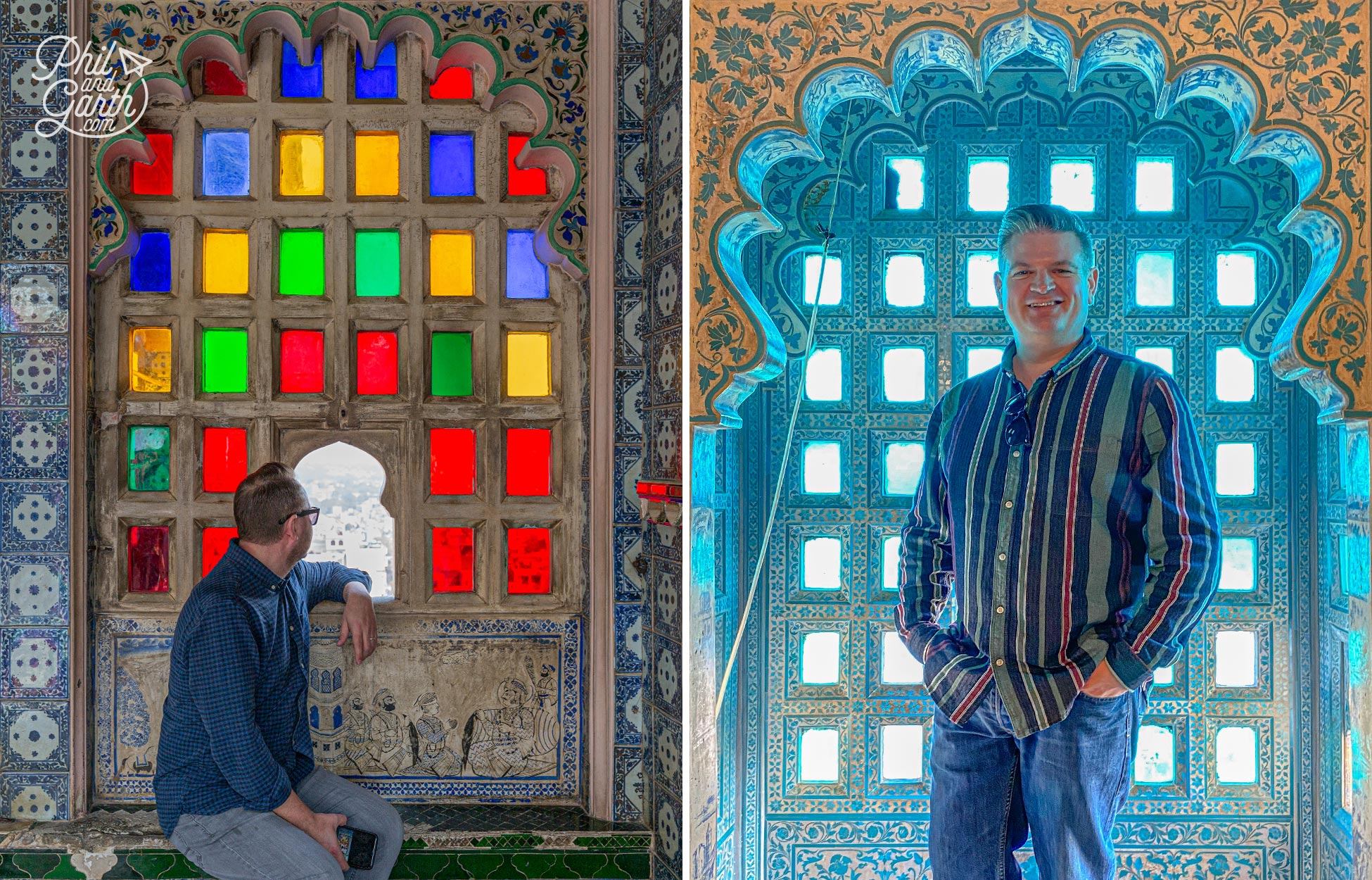 These two windows are just gorgeous! look at all the details. The blue tiles next to Garth are Chinese