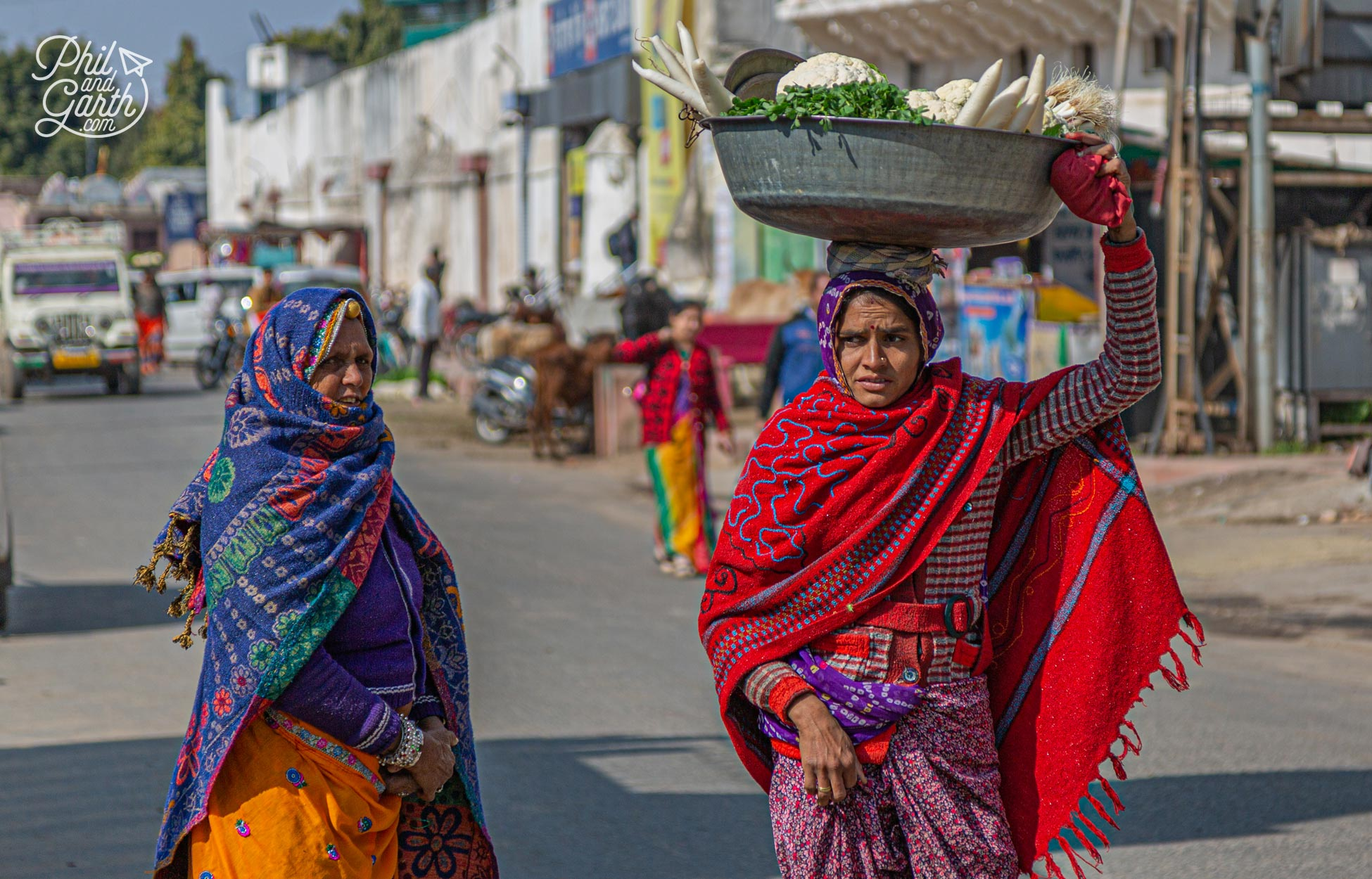 A couple of ladies wrapped up warm in Pushkar