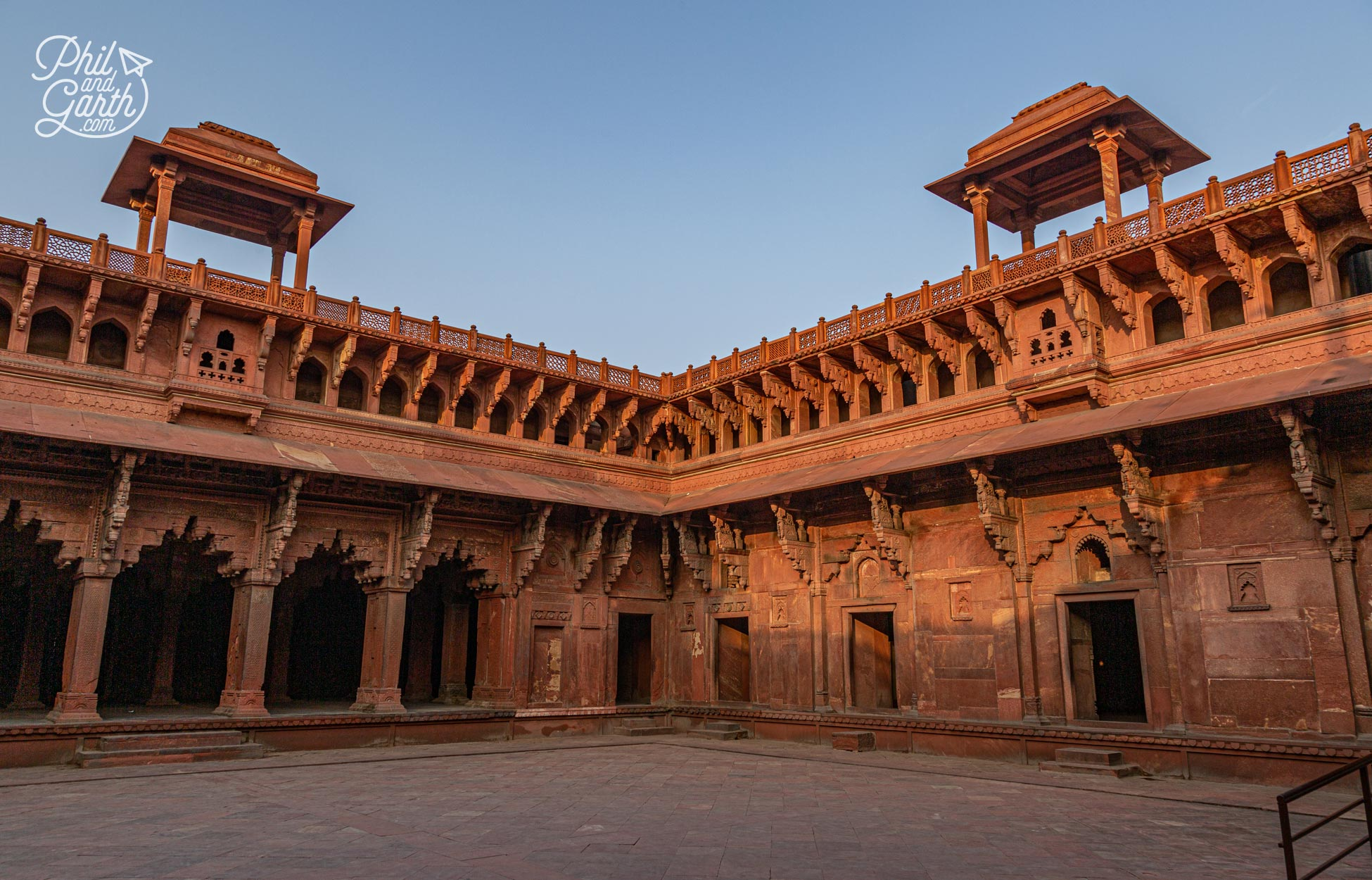 Hindu inspired architecture of the central courtyard within the Jahangiri Mahal Palace