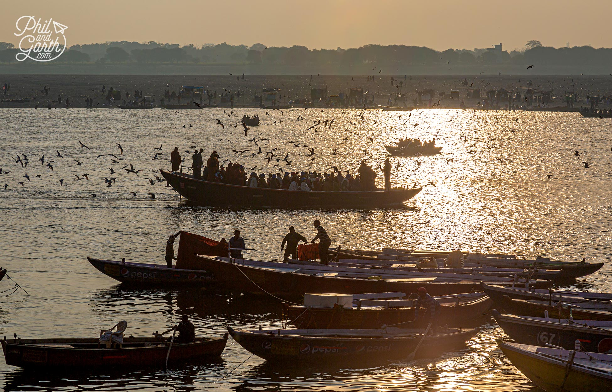Atmospheric views of Varanasi from the River Ganges early morning