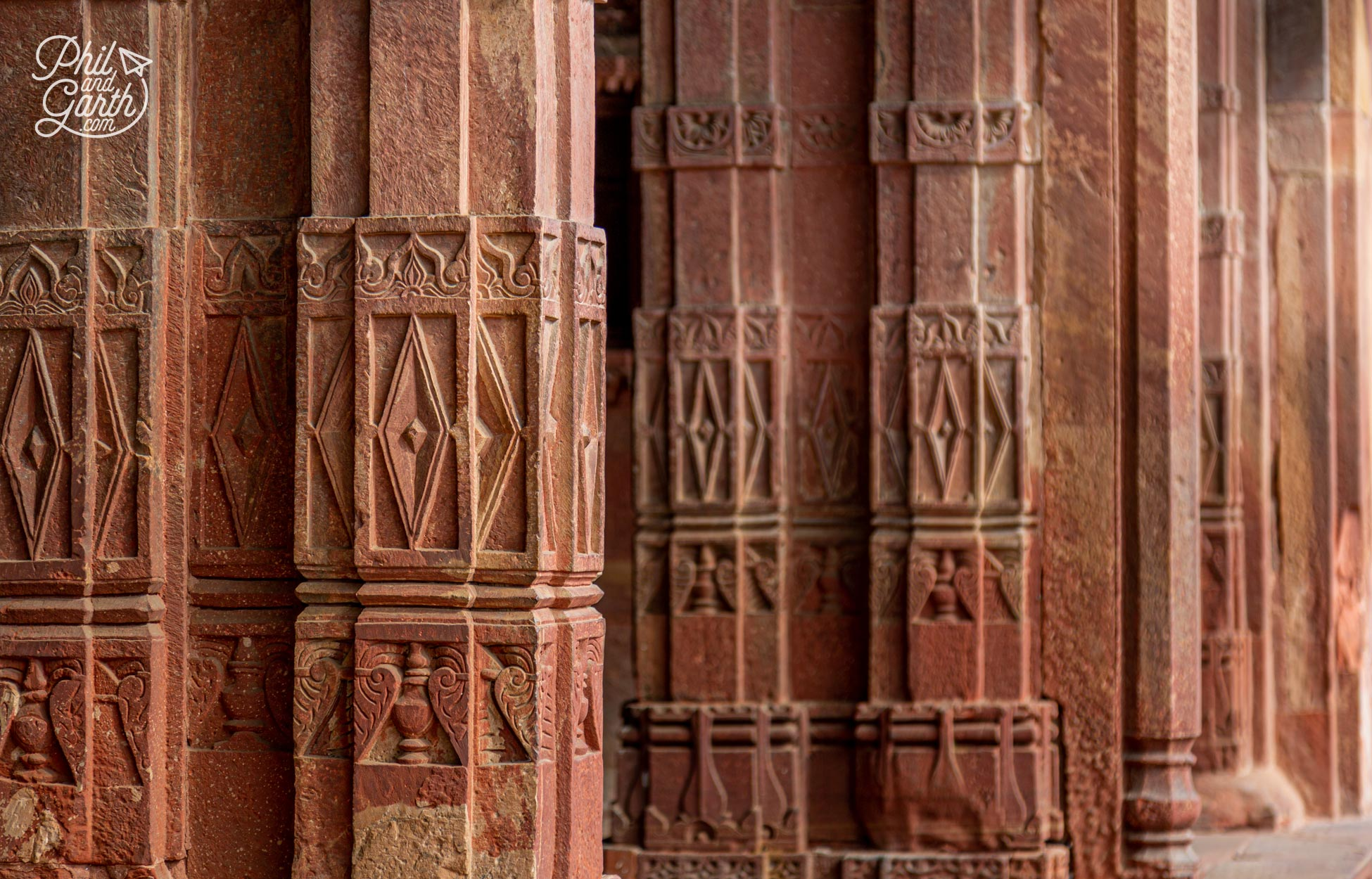 Detail of some of the bas-relief columns