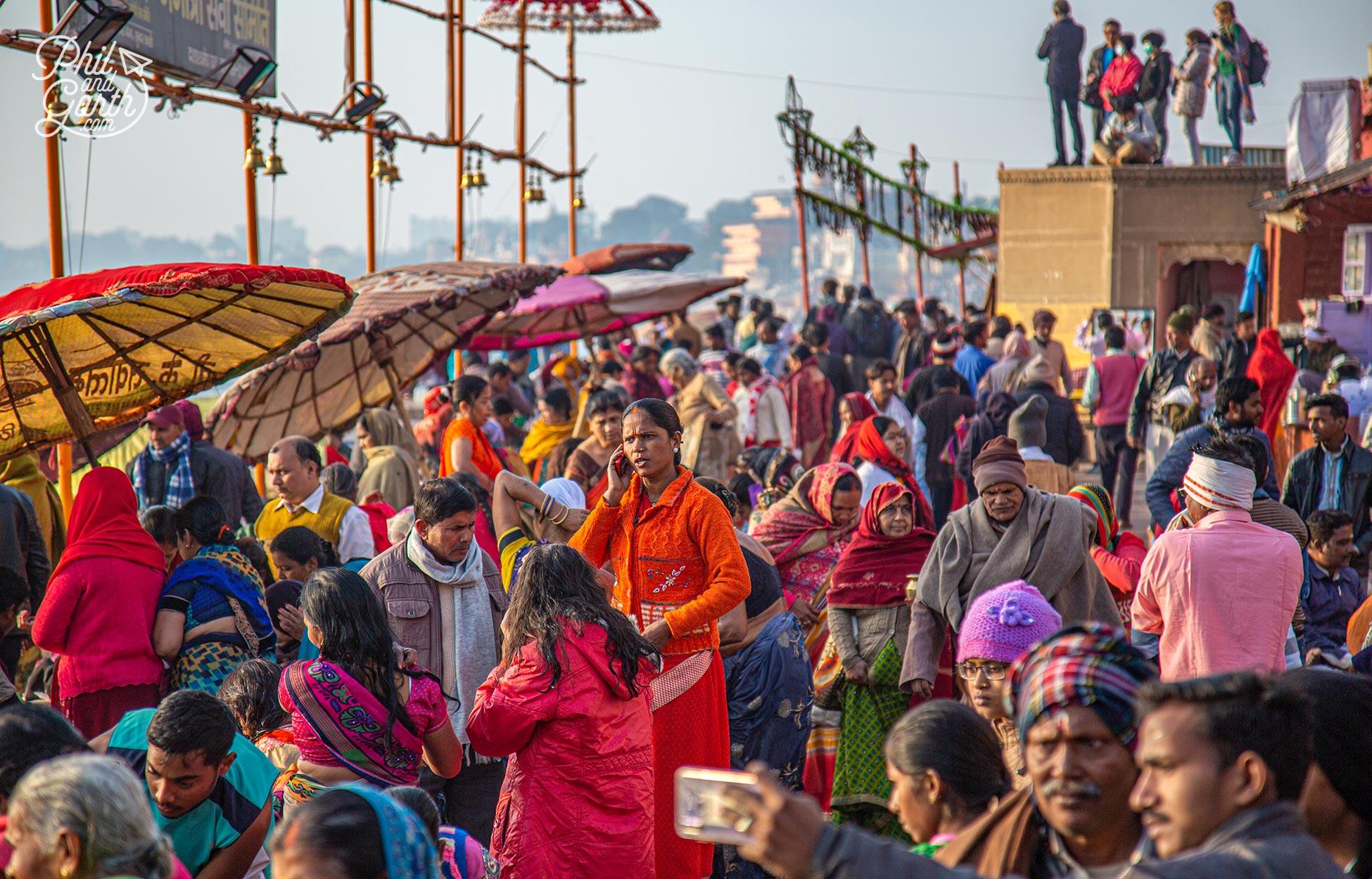 Crowds of people gathering at Dashashwamedh Ghat
