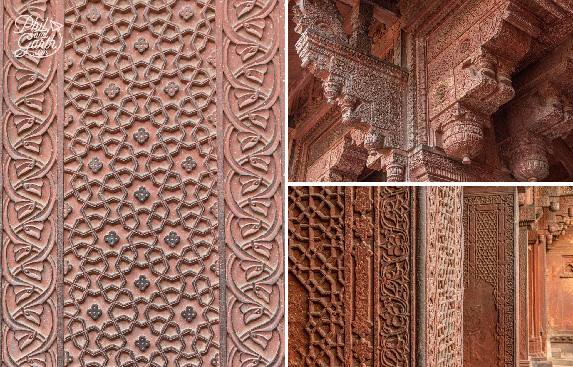 Details of the bas-reliefs in the courtyard - a blend of Hindu and Persian styles