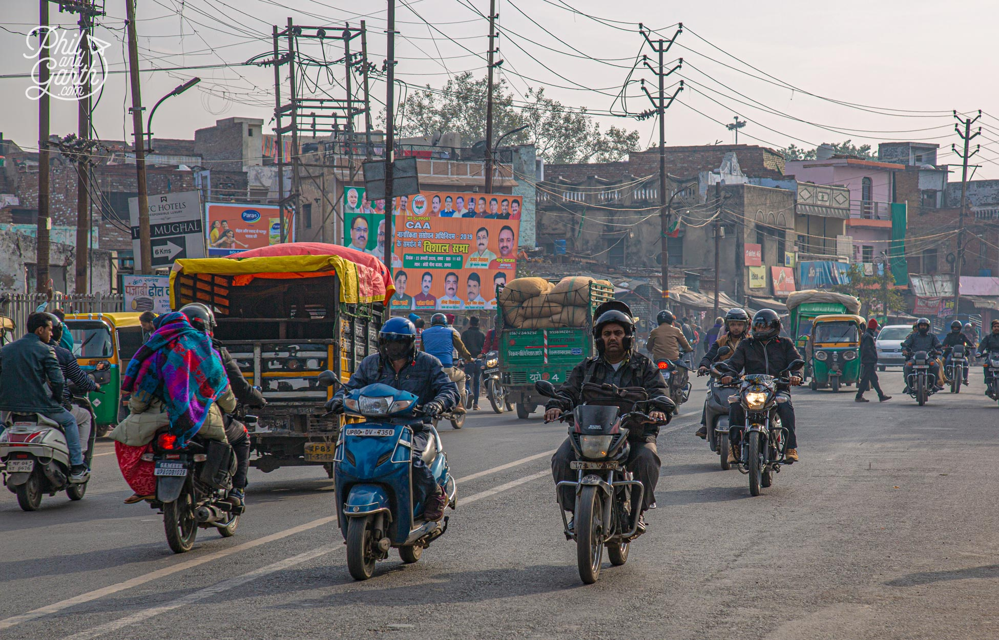Driving through the traffic in Agra