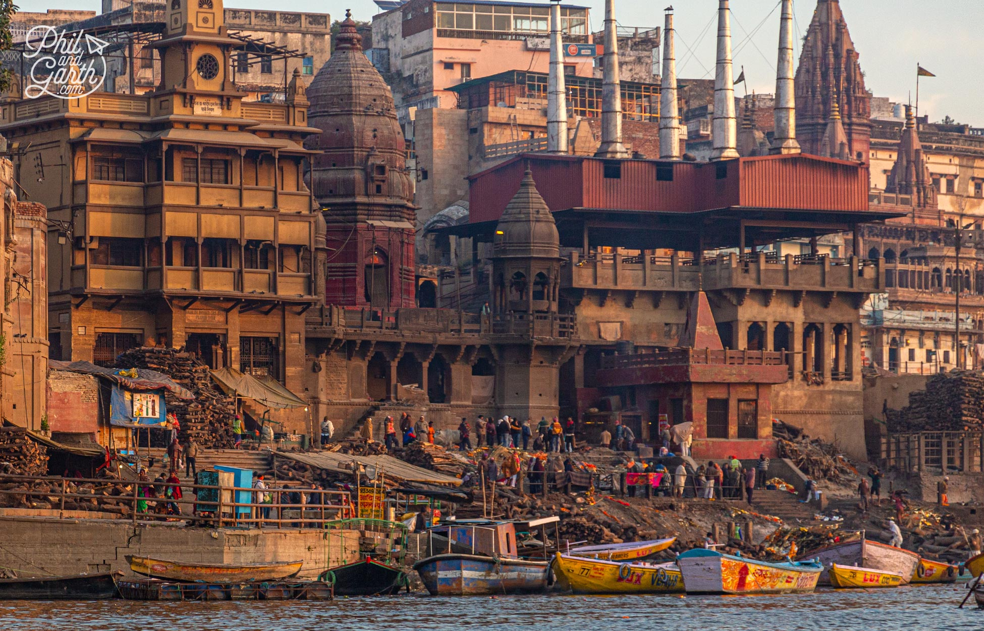 The Manikarnika Ghat where around 100 cremations take place every day