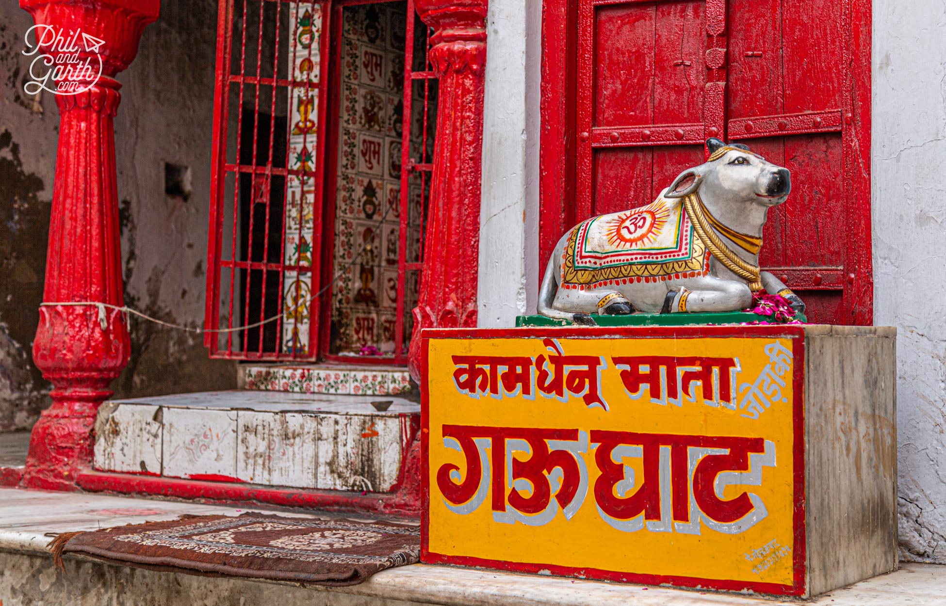 The 'mother of all cows' welcomes you to the Kamdhenu Mata Gau Ghat. Also known as the Gandhi Ghat