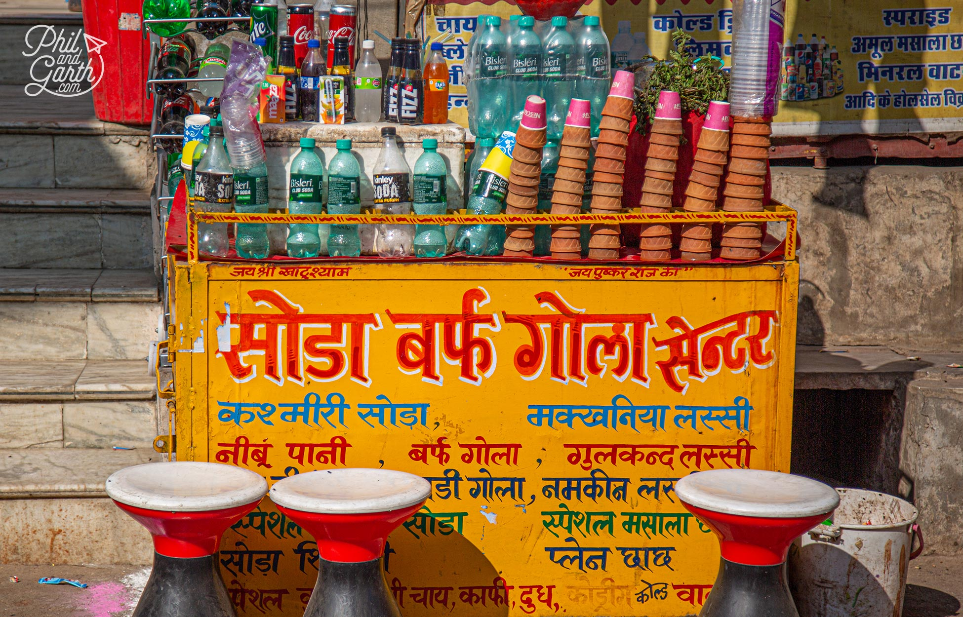 Keep hydrated at one of the many street carts selling chai in disposable clay cups and soft drinks