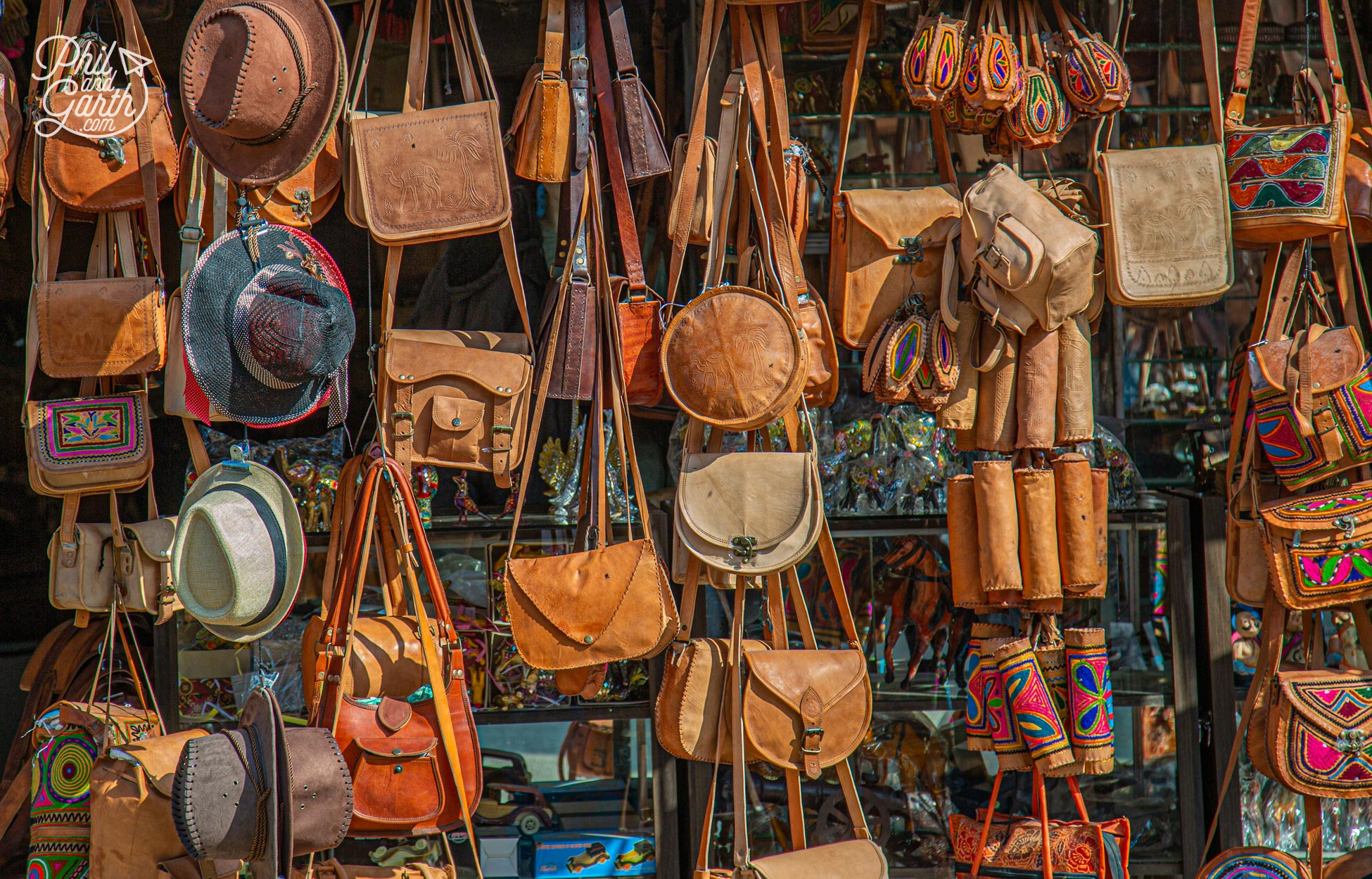 Leather goods for sale, we were tempted to buy a satchel