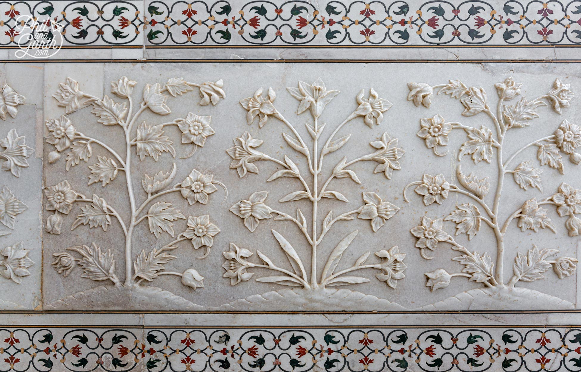 Marble bas-relief detail of flowers