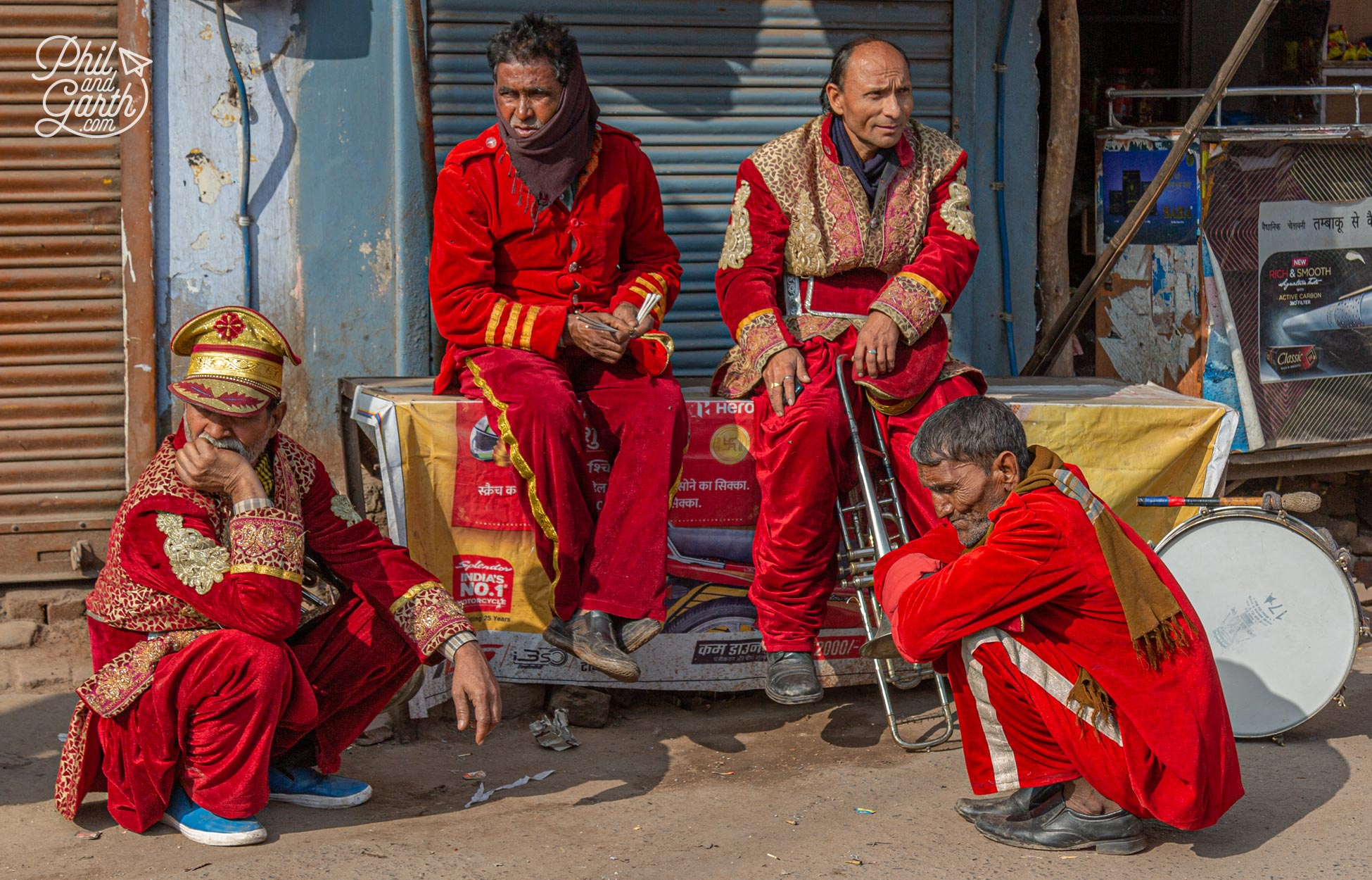 Musicians taking a rest on the roadside