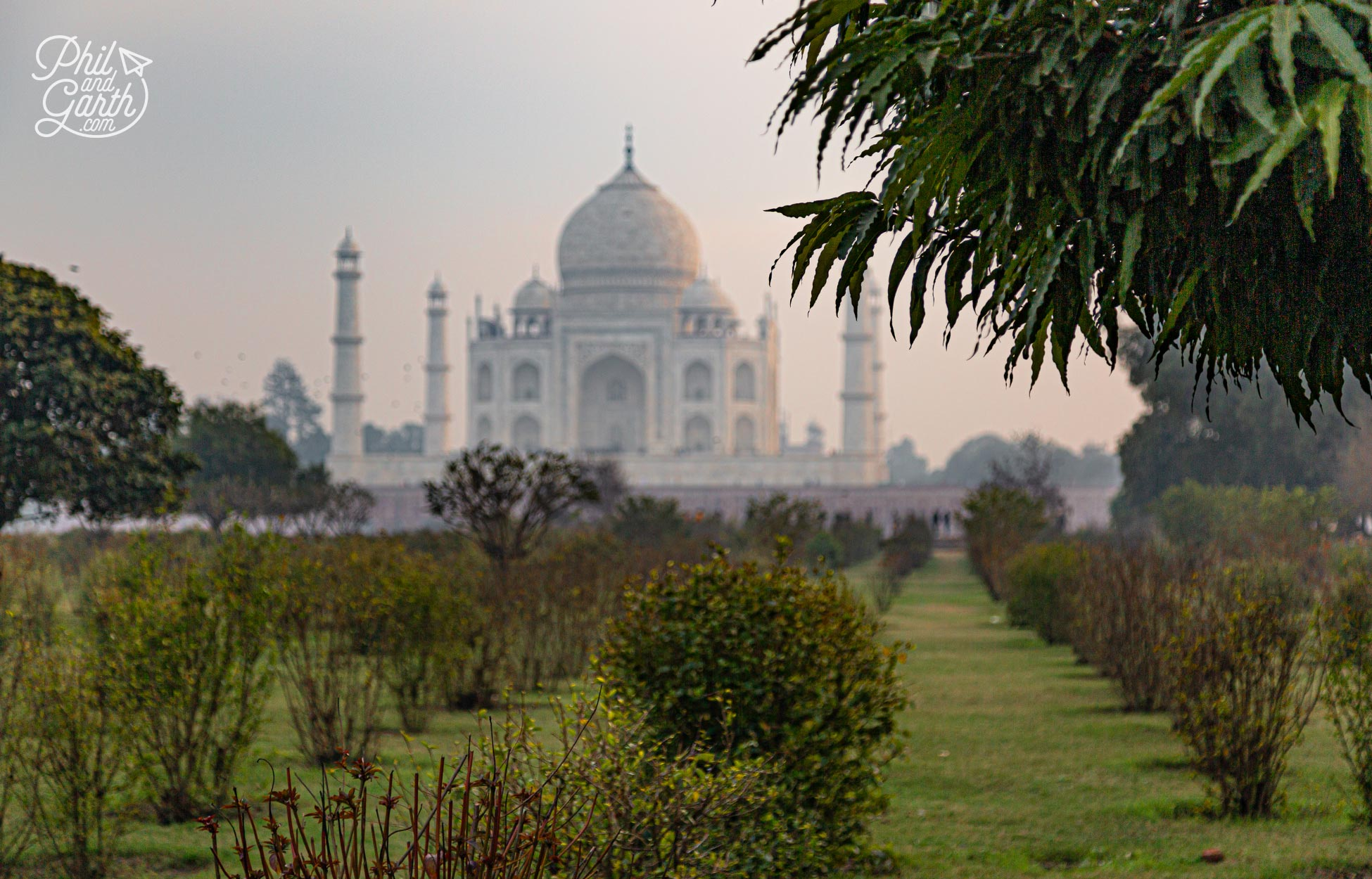 Our first glimpse of the Taj Mahal from the Mehtab Bagh garden