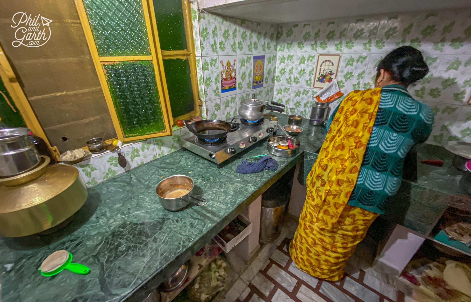 The kitchen of the family who cooked their homemade thali for our small group