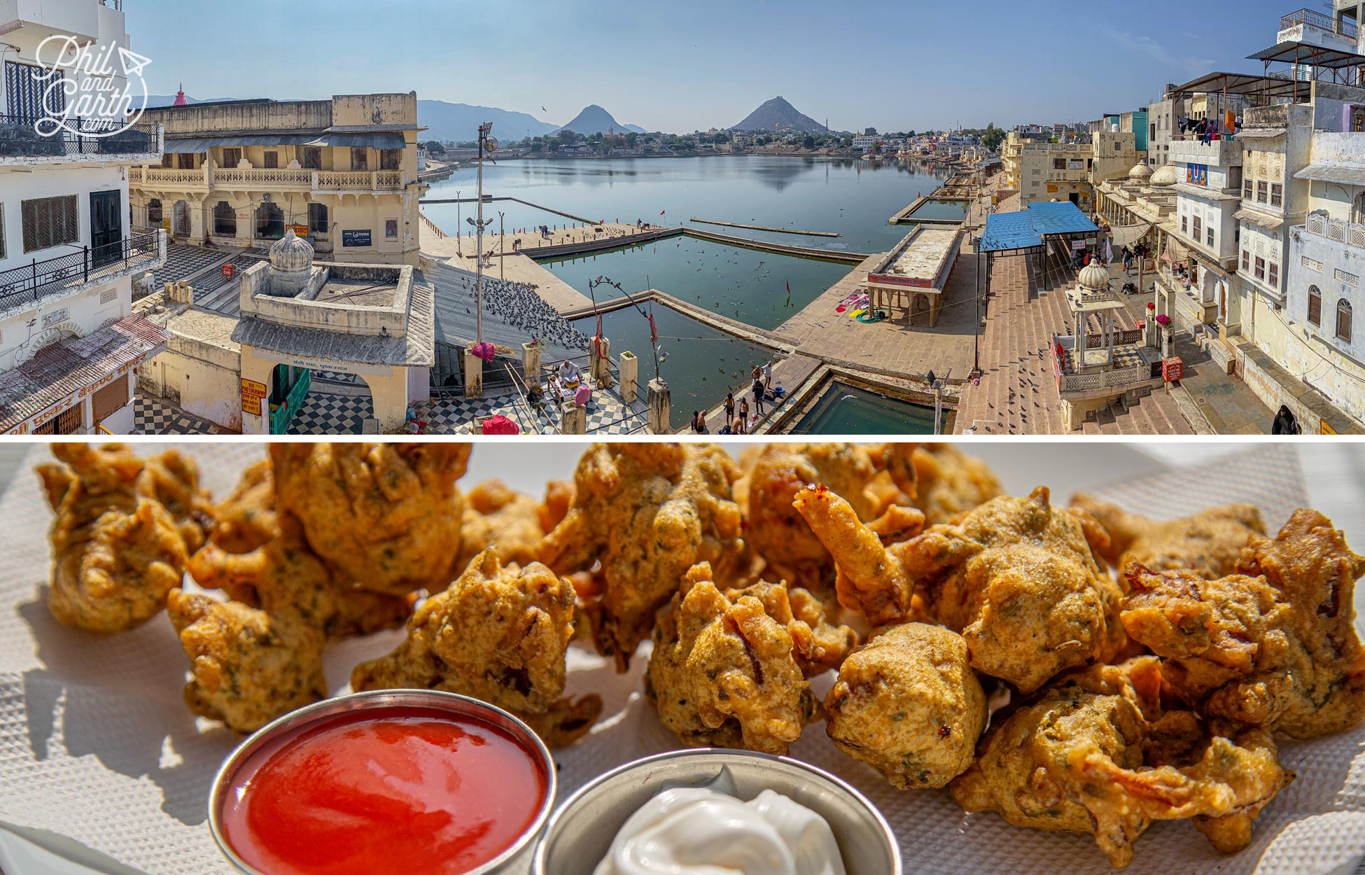 Our delicious vegetable pakoras and the fab views from the Pushkar Cafe Roof Top