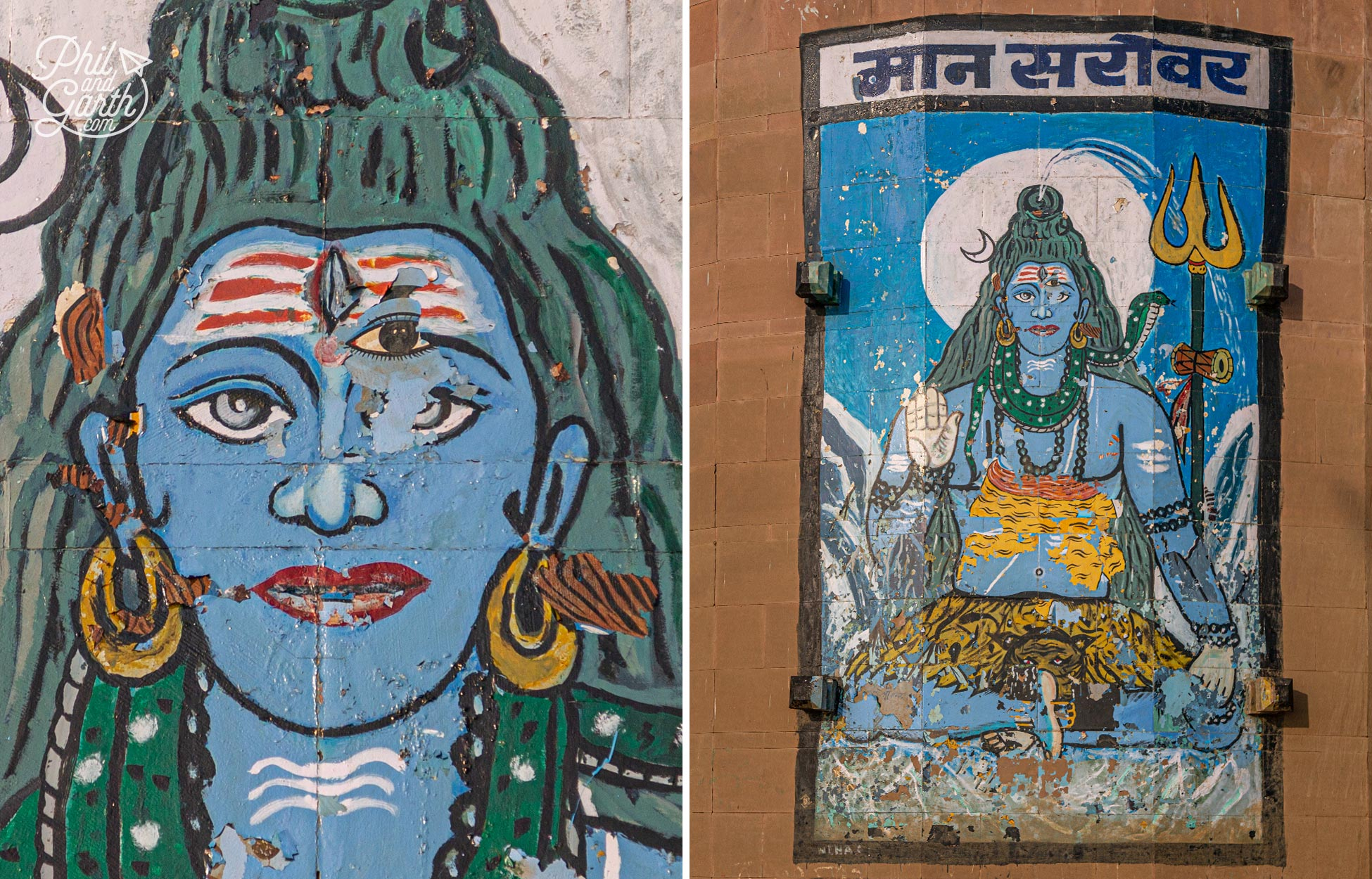 A large artwork on a wall depicting the Hindu god, Shiva