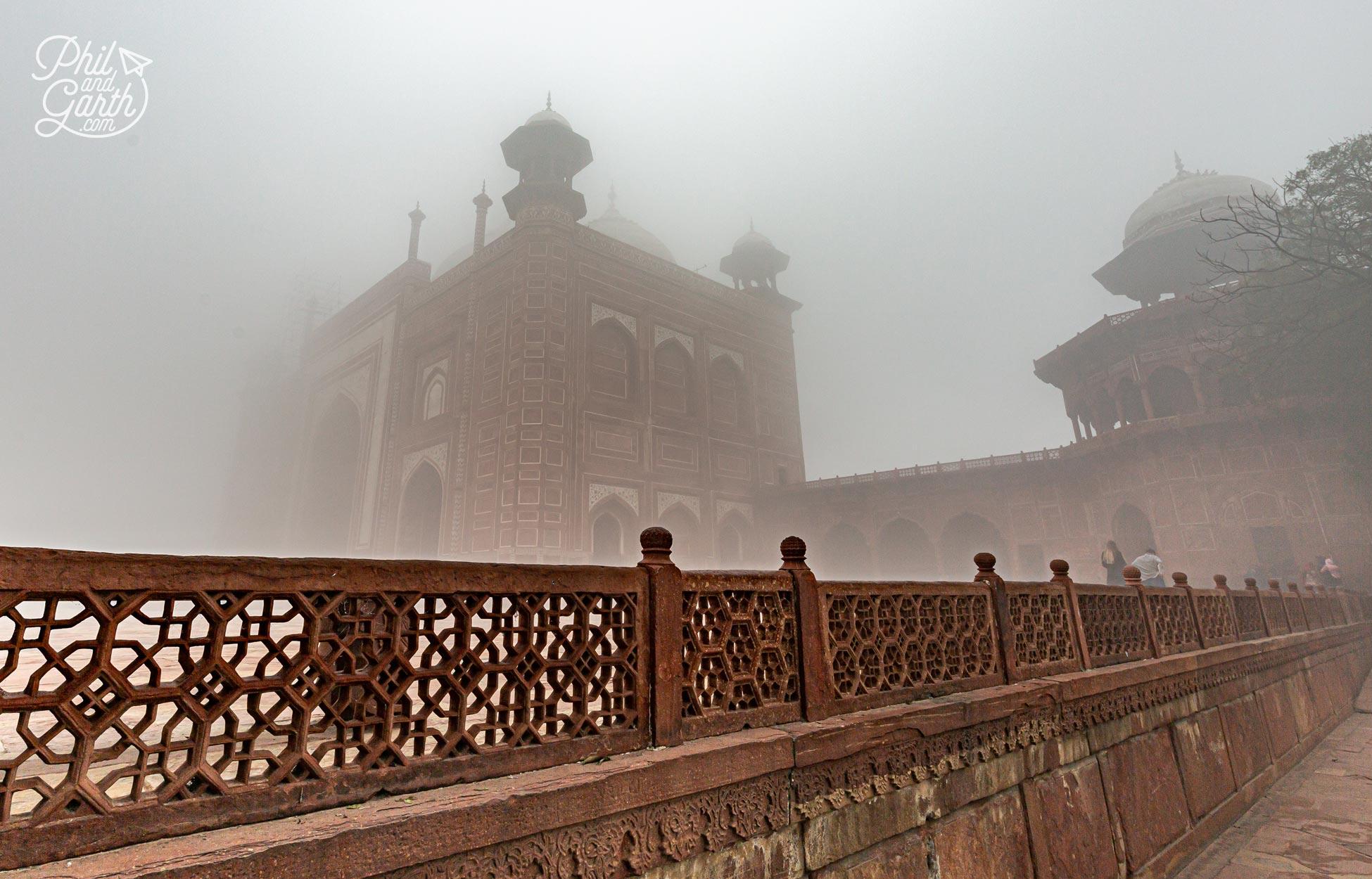 The Mehmaan Khana guest house appearing through the fog