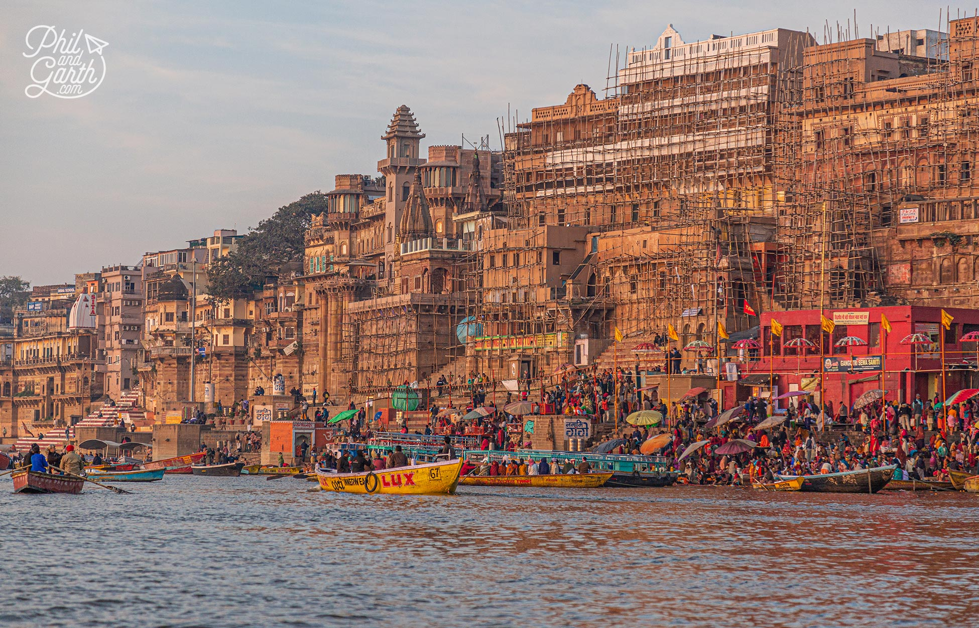 The Varanasi ghats are a hive of activity first thing in the morning