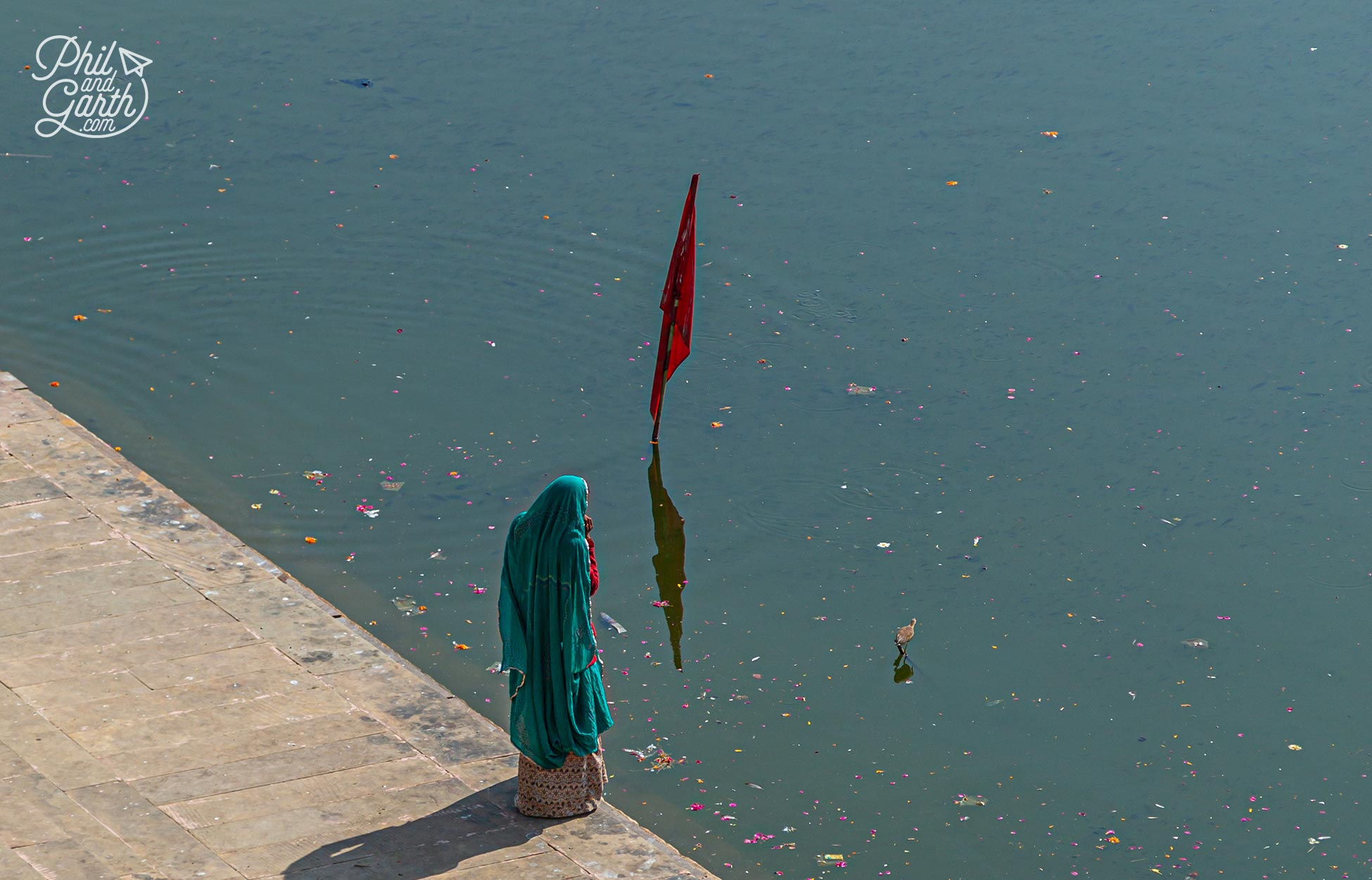 The lake is full of rose petals from the puja ceremonies that take place by the water