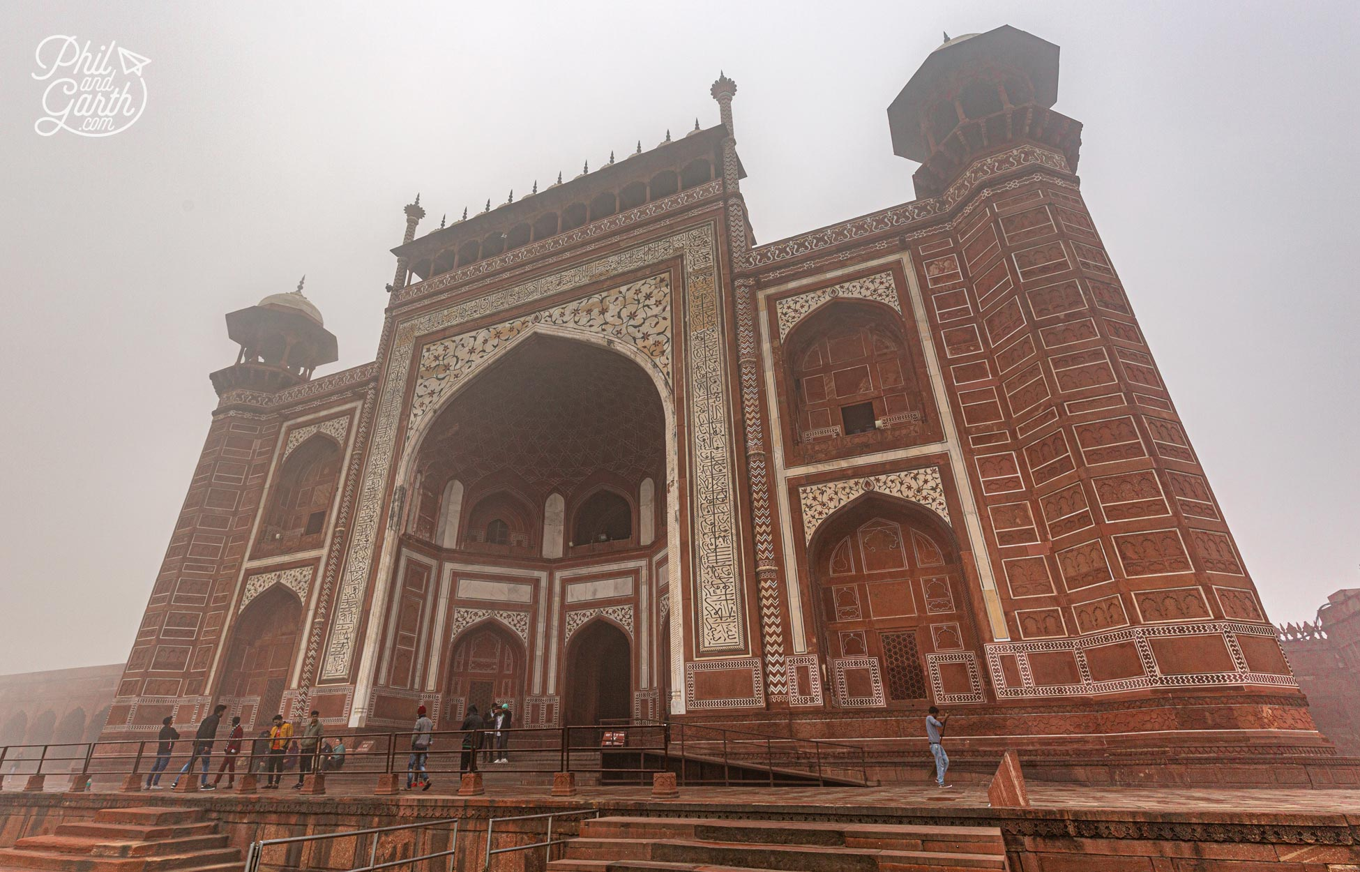 The north gate entrance and exit to the Taj Mahal