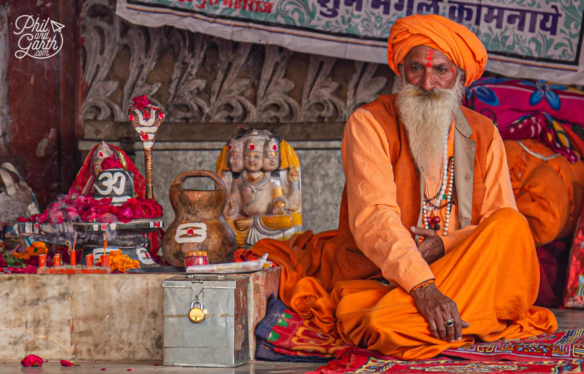 There are many sadhus in Puskar they are holy people who dedicate their lives to Hinduism