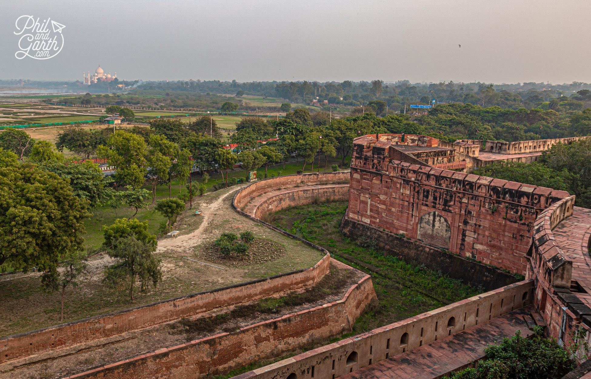 This is the view across to the Taj Mahal from Agra Fort