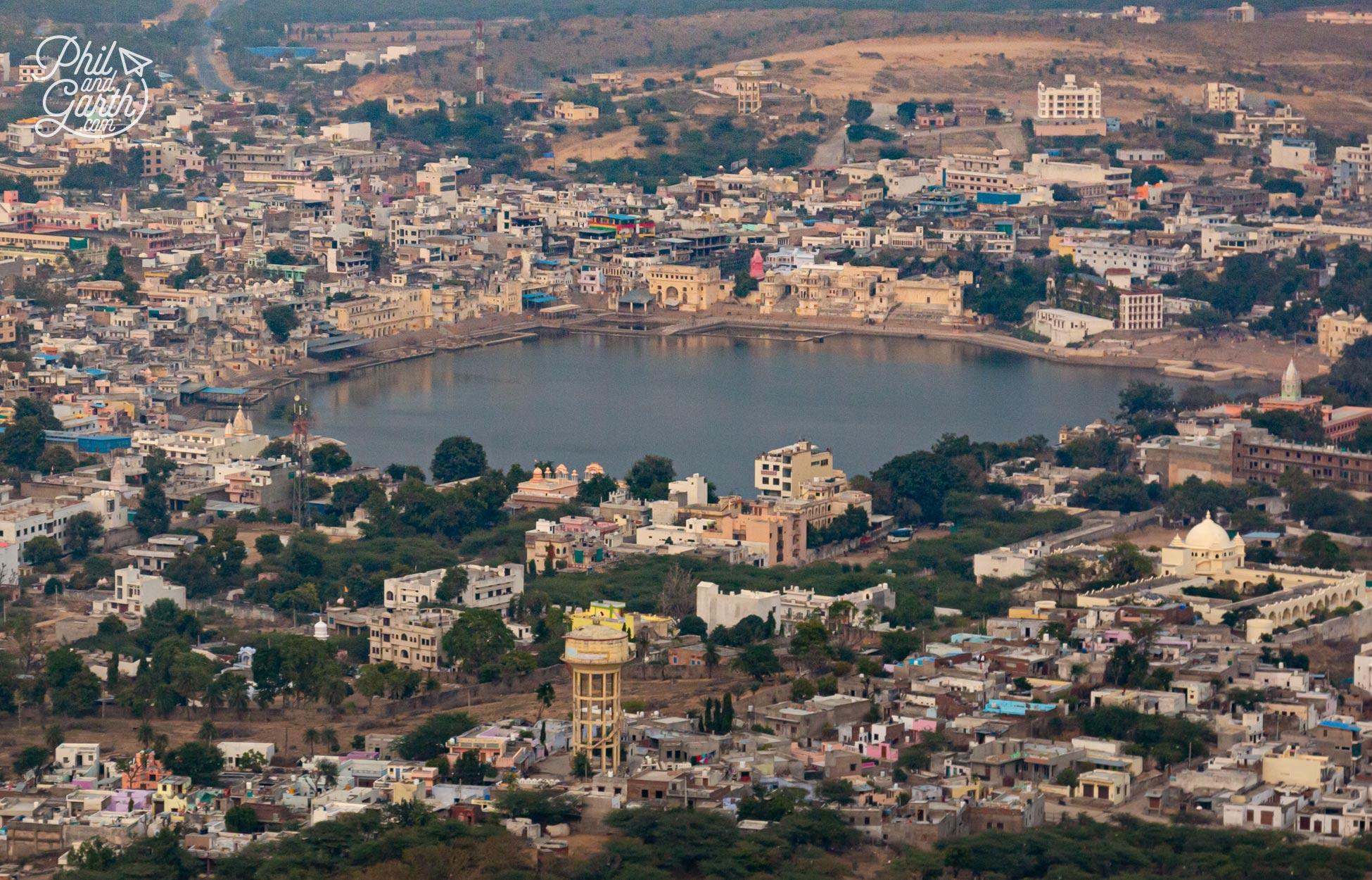 A lofty view of Pushkar Lake