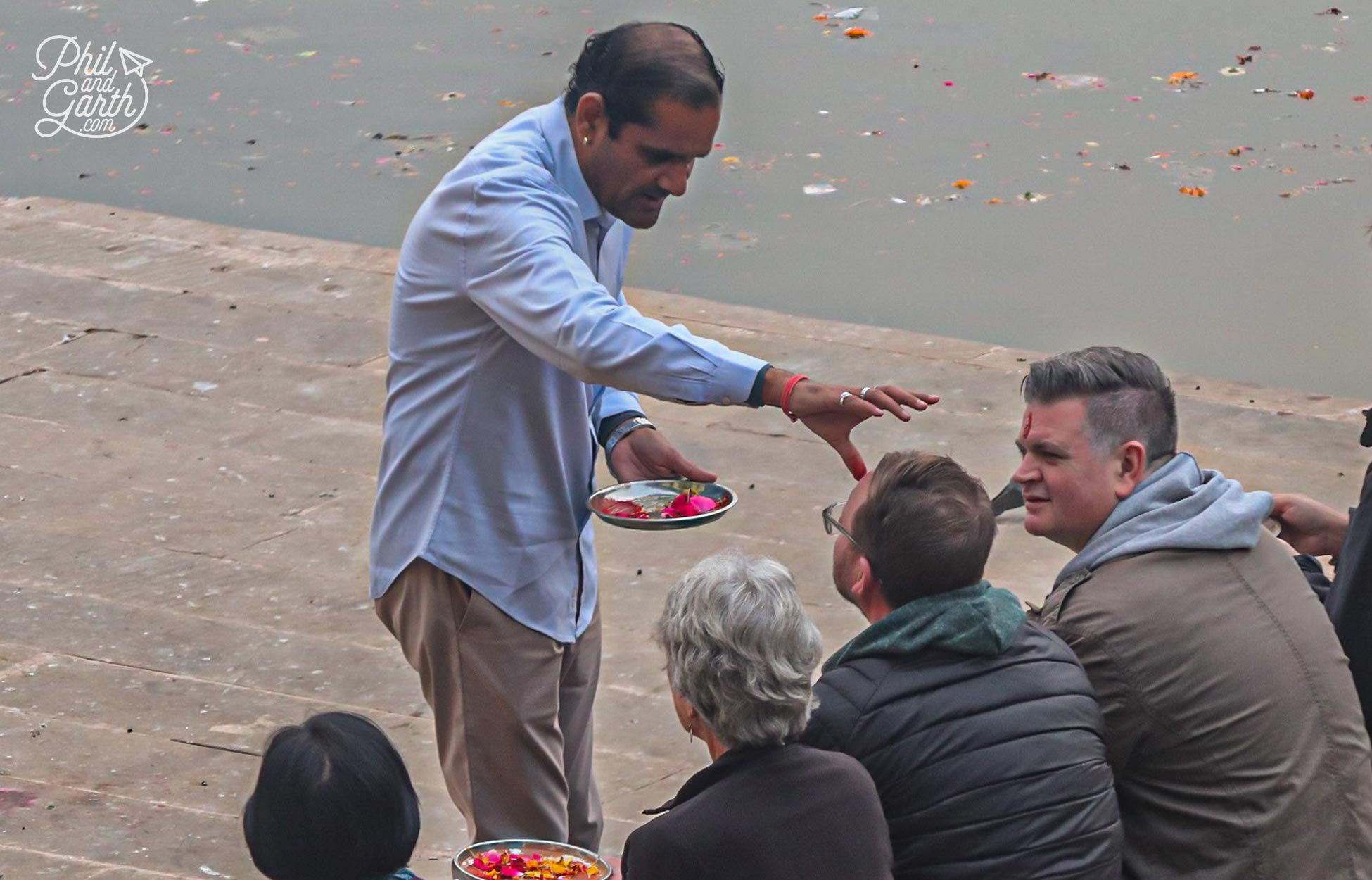 Garth getting blessed by our Brahmin priest