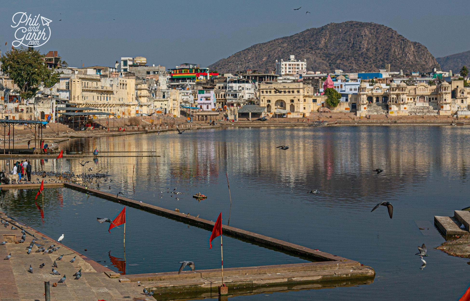 Pushkar Lake with the Aravali Mountains in the background