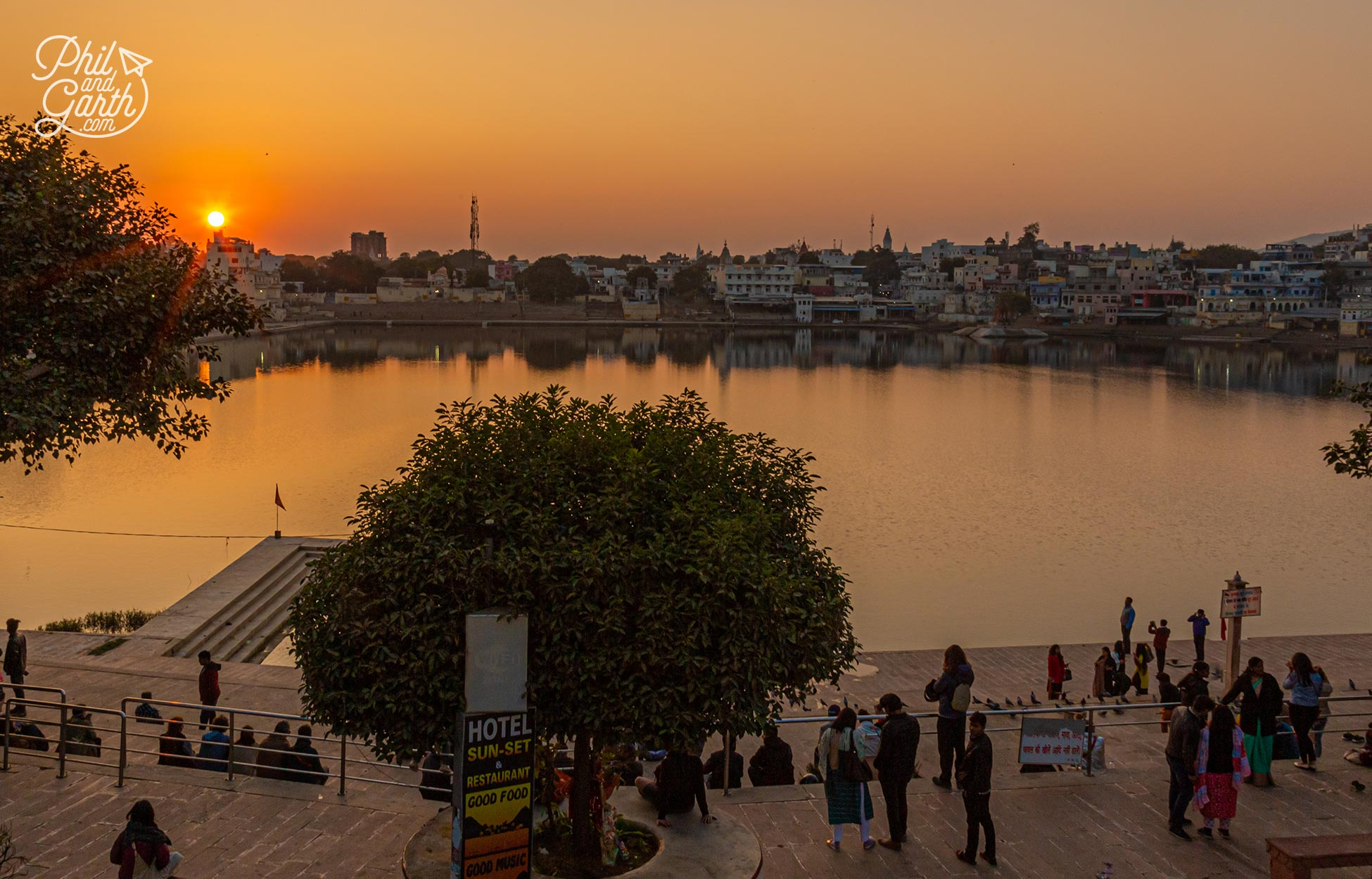 The view of Pushkar Lake from the Sun-Set Hotel rooftop. Another of the best places to visit in Pushkar